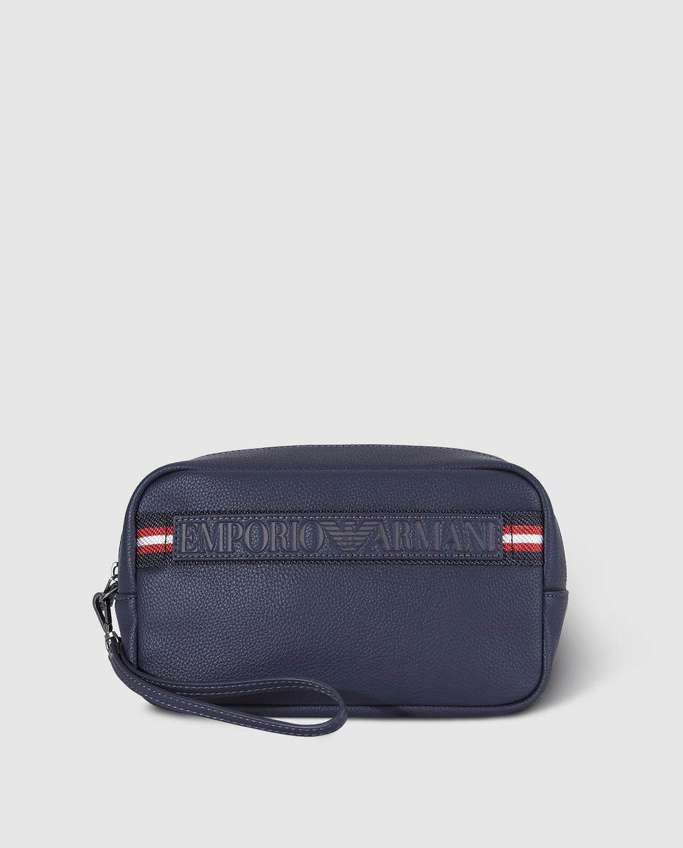85d25f39b Emporio Armani Navy Blue Toiletry Bag With Logo in Blue for Men - Lyst