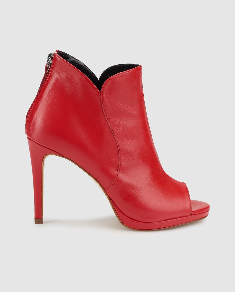 9cb202095ae Gloria Ortiz Red Leather Peep-toe Booties in Red - Lyst
