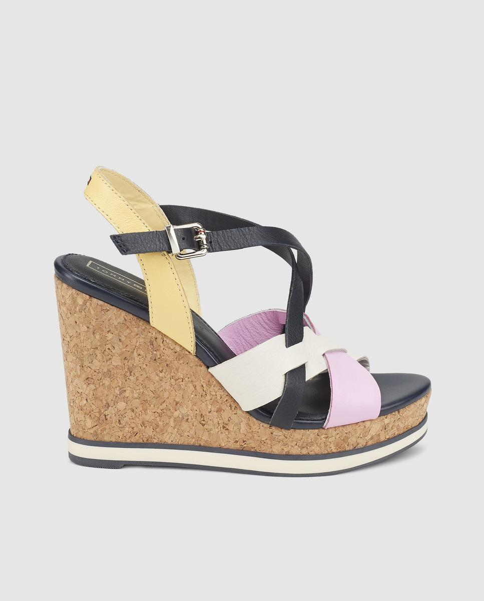 48858abb6471 Lyst - Tommy Hilfiger Pink Wedge Sandals With Stripe Detail in Pink