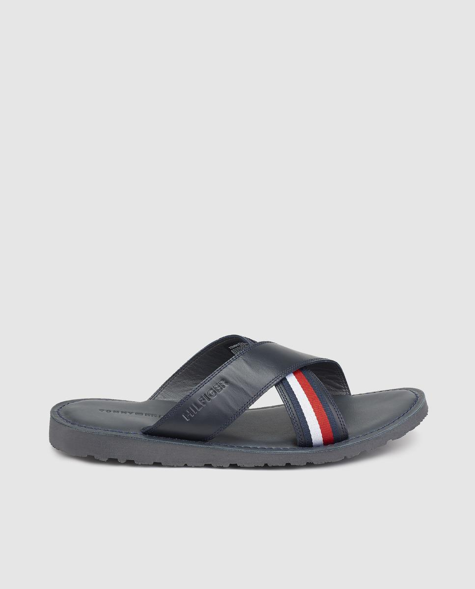 b7bd51437d8c Lyst - Tommy Hilfiger Black Leather Flip-flops. Available Online ...
