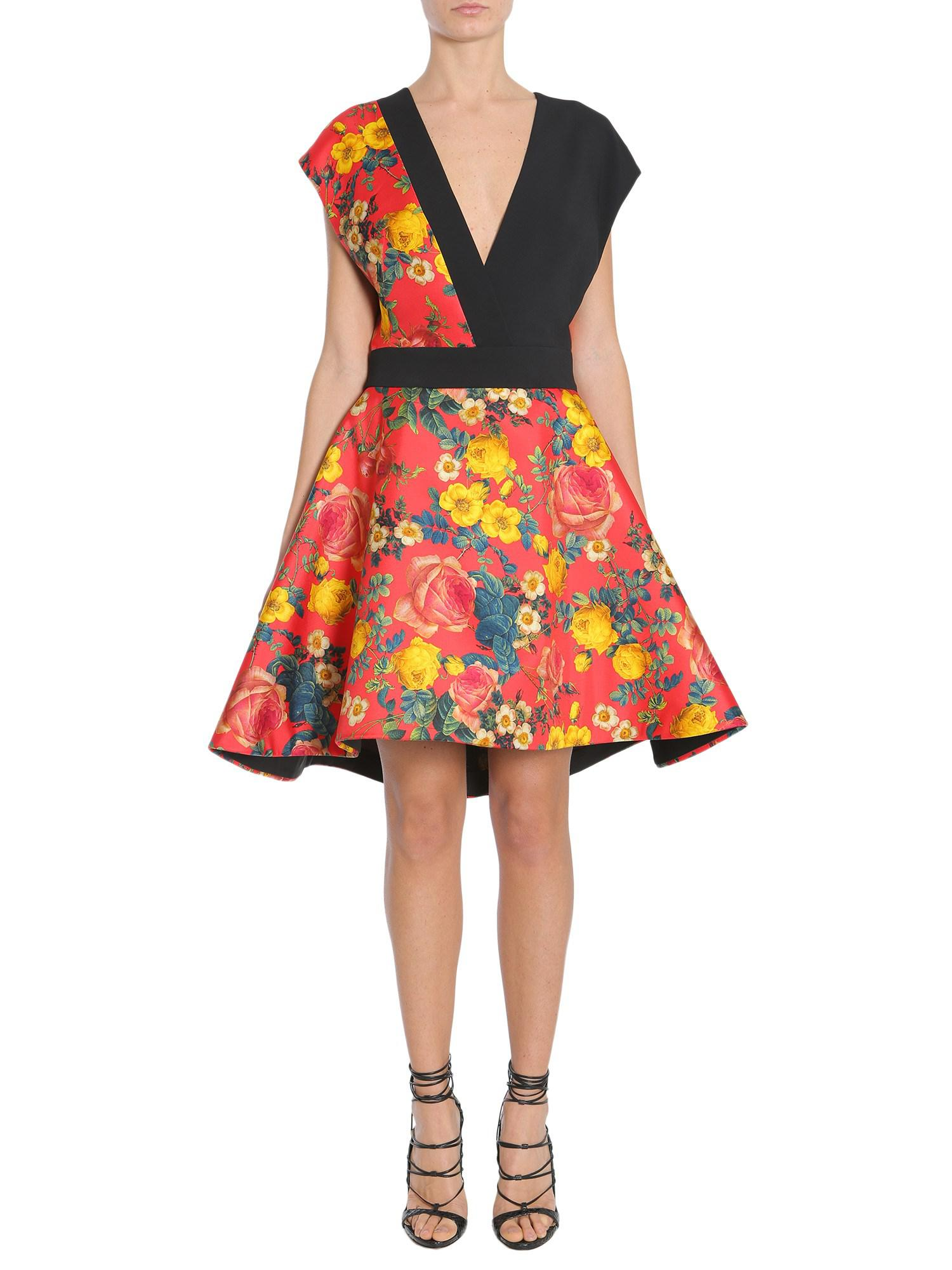 2039f94115e8d Lyst - Fausto Puglisi Flower Printed Crêpe And Silk Twill V Collar ...