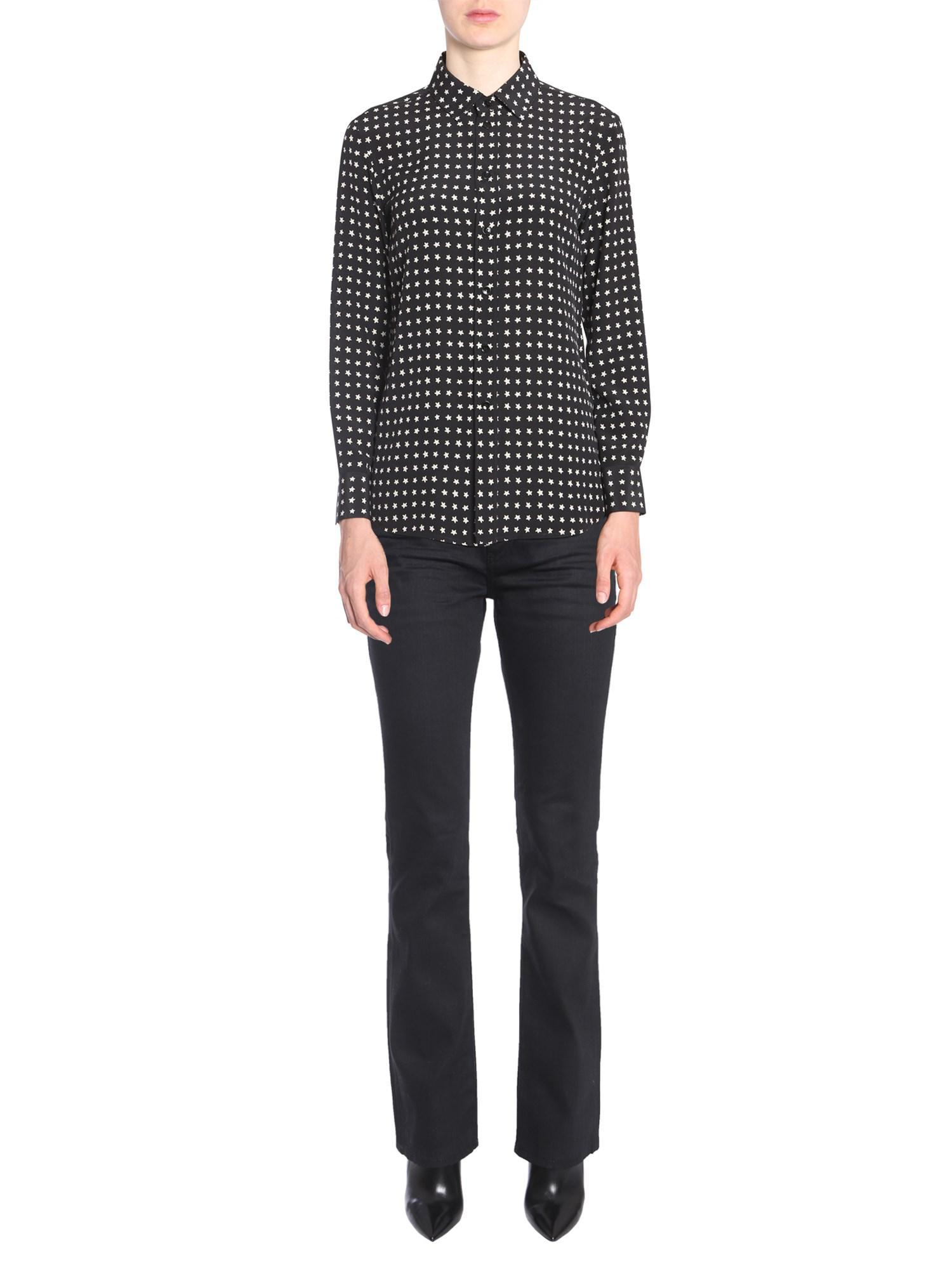 51a49ccfc4f373 Saint Laurent - Black Crêpe De Chine Silk Shirt With Parsi Collar And Stars  Print -. View fullscreen