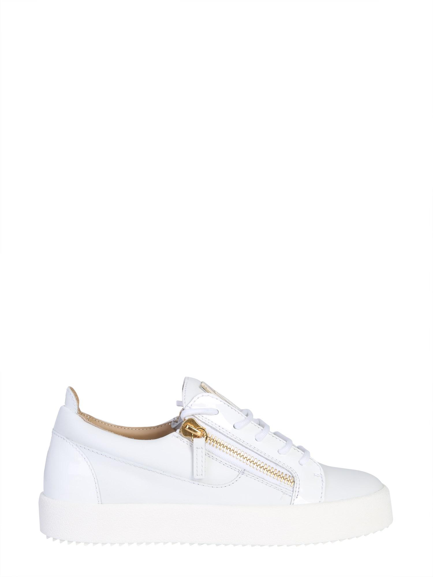 2869fbc44ac74 Lyst - Giuseppe Zanotti Nicki Low-top Nappa Sneakers With Zip in White