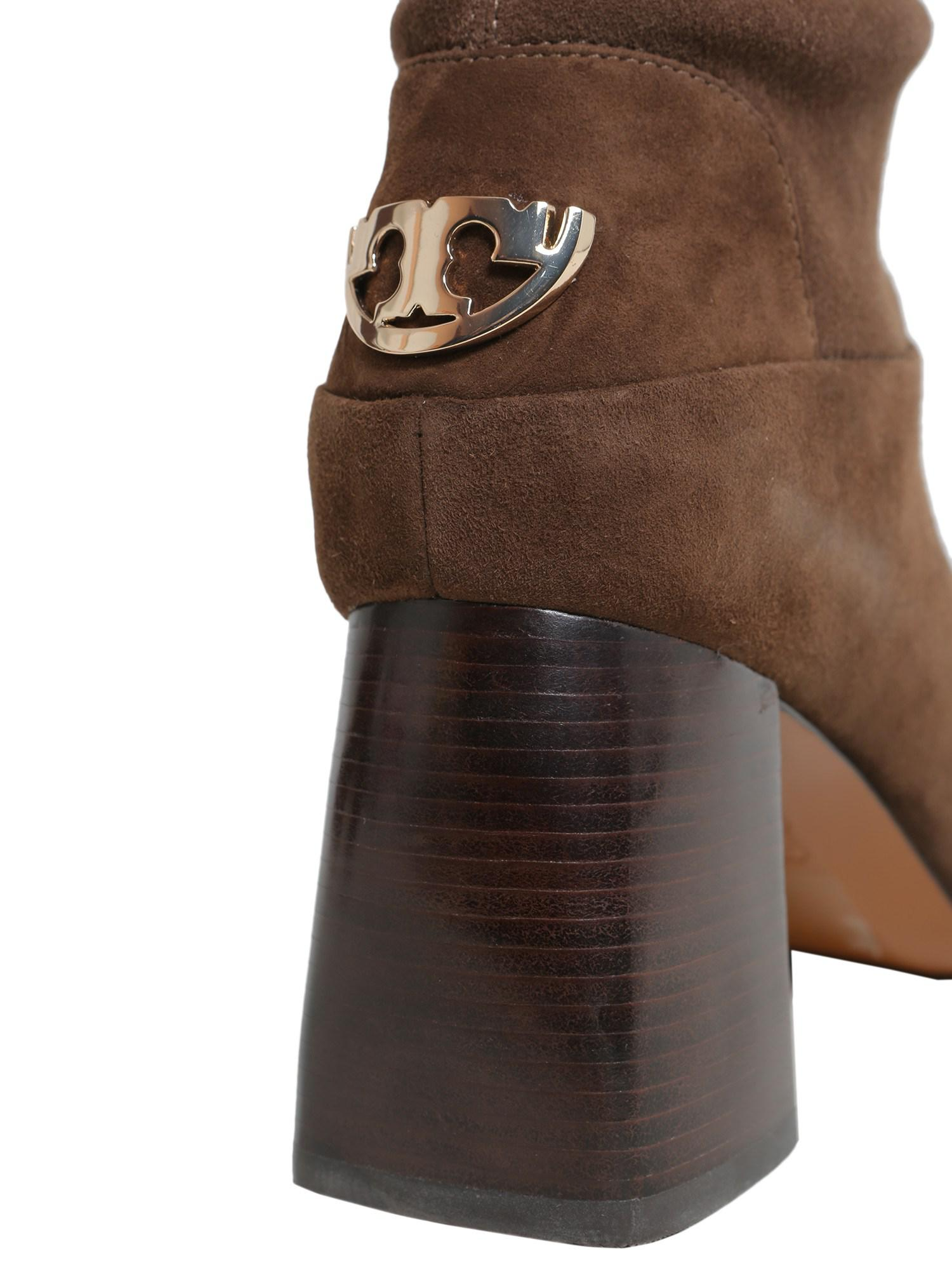 38a14a3829ca Lyst - Tory Burch Sidney Suede Mid-heel Boot in Brown
