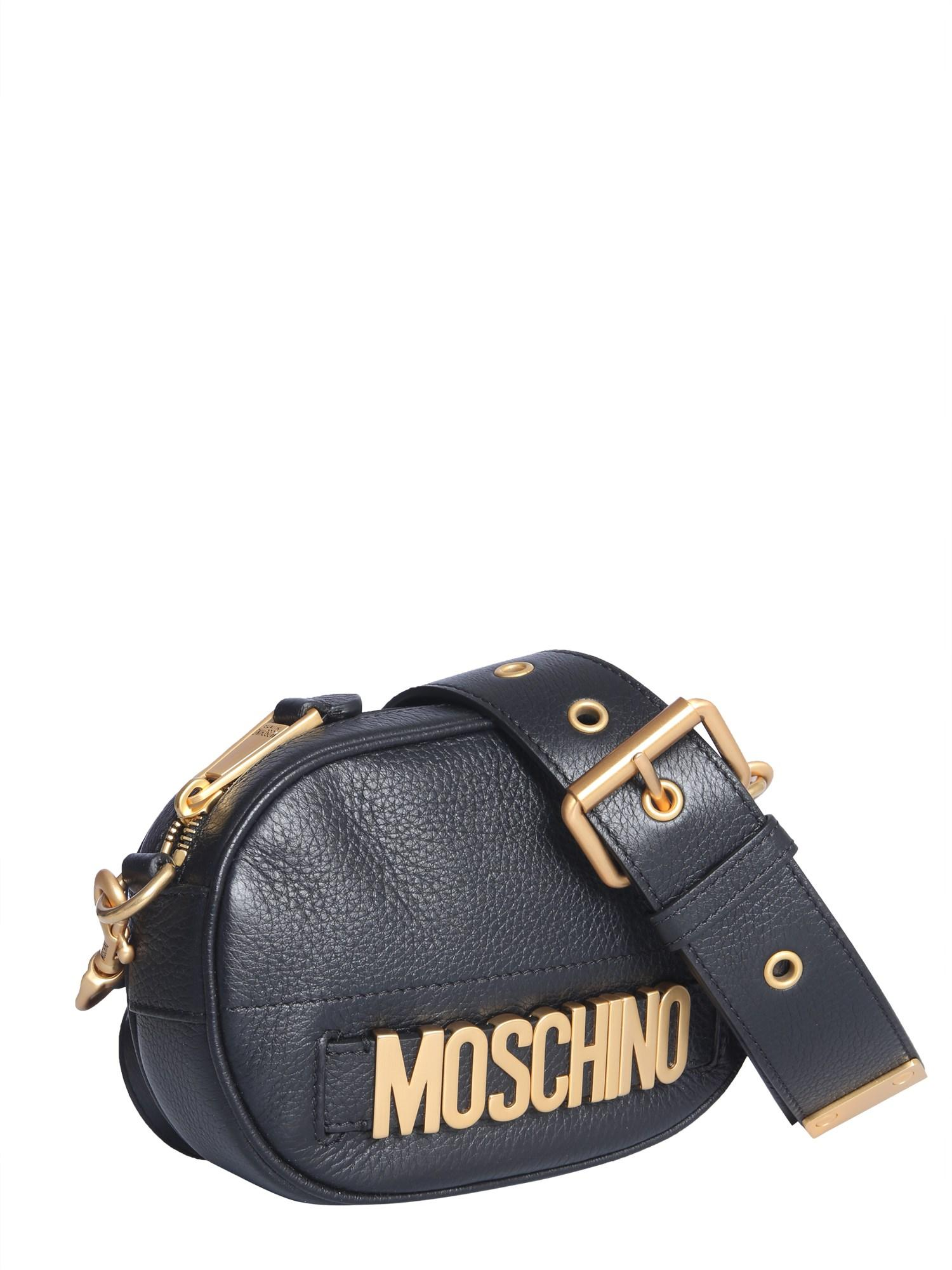 1f54b8427c2a9 Lyst - Moschino Leather Shoulder Bag With Lettering Logo in Black - Save 22%