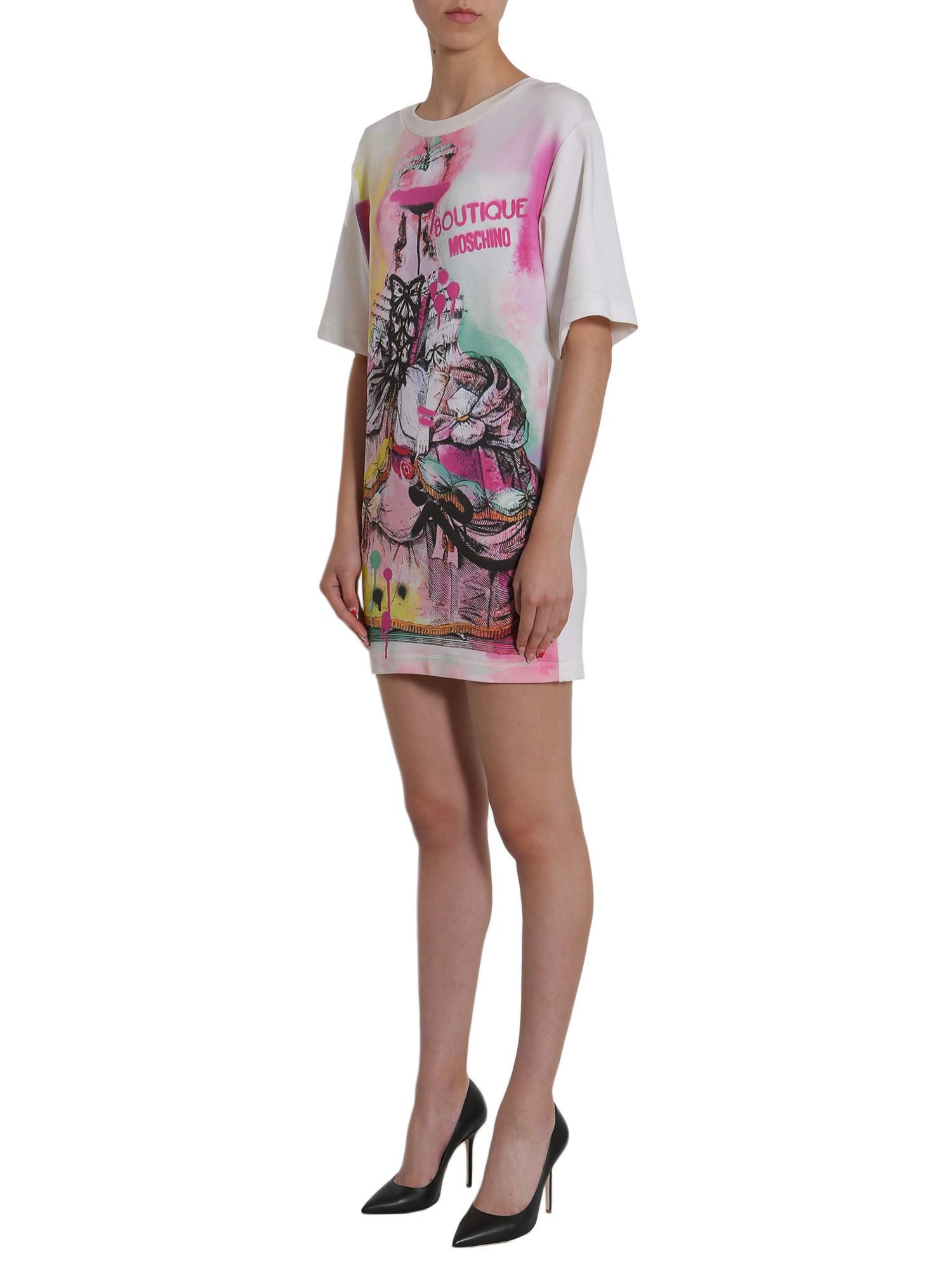 Pink crewneck dress with rubber print MOSCHINO BOUTIQUE Latest Collections XhtJoyJFL2