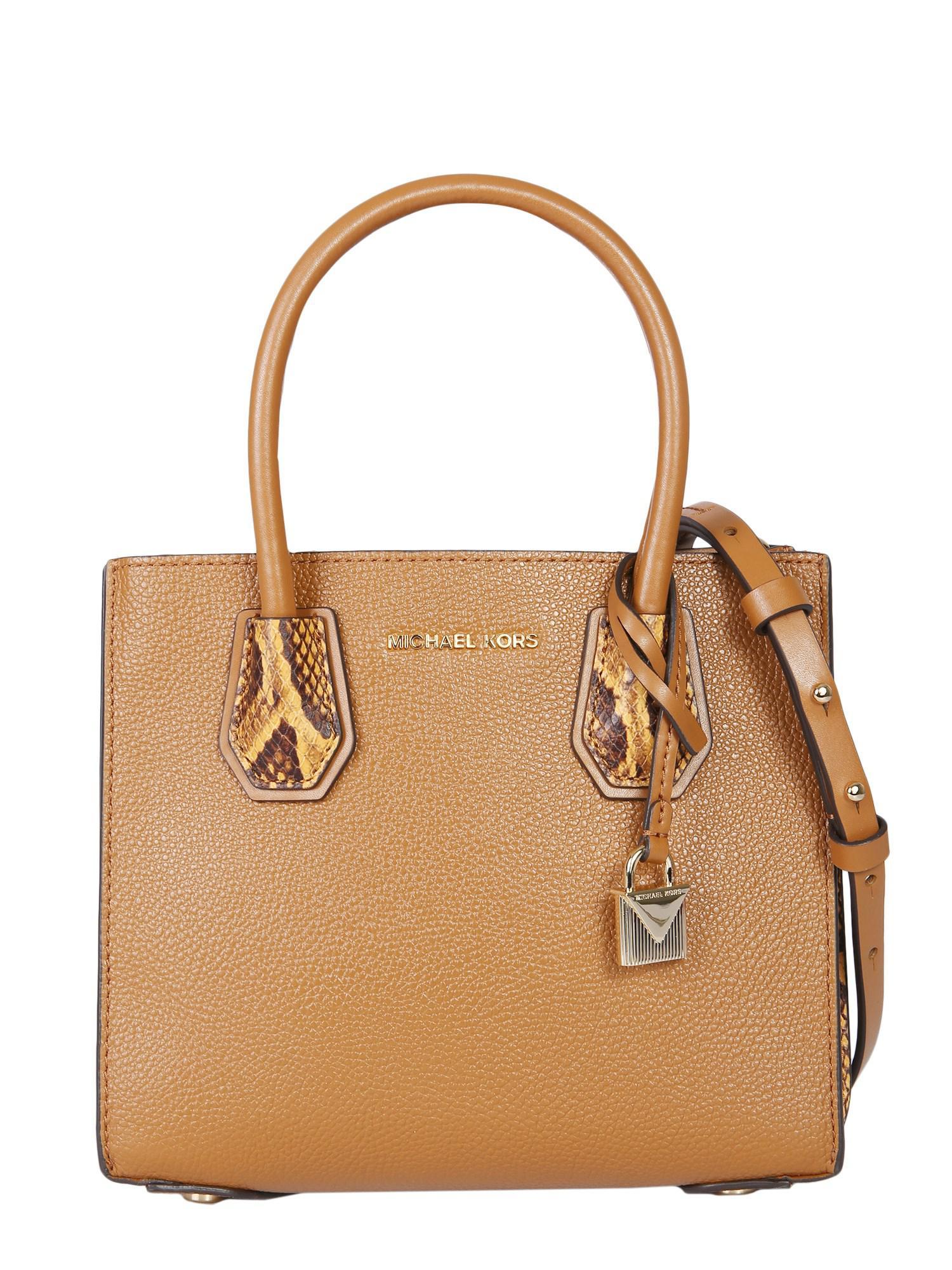 ec01b5df1e78 Michael Michael Kors Medium Mercer Leather Bag in Brown - Lyst