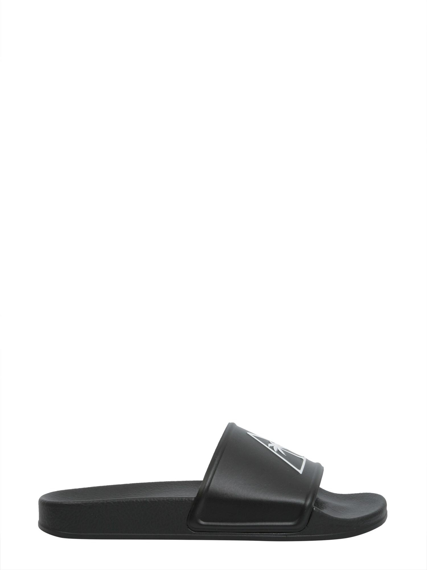 16f108985a1 Palm Angels Slide Rubber Sandals With Palm in Black for Men - Lyst