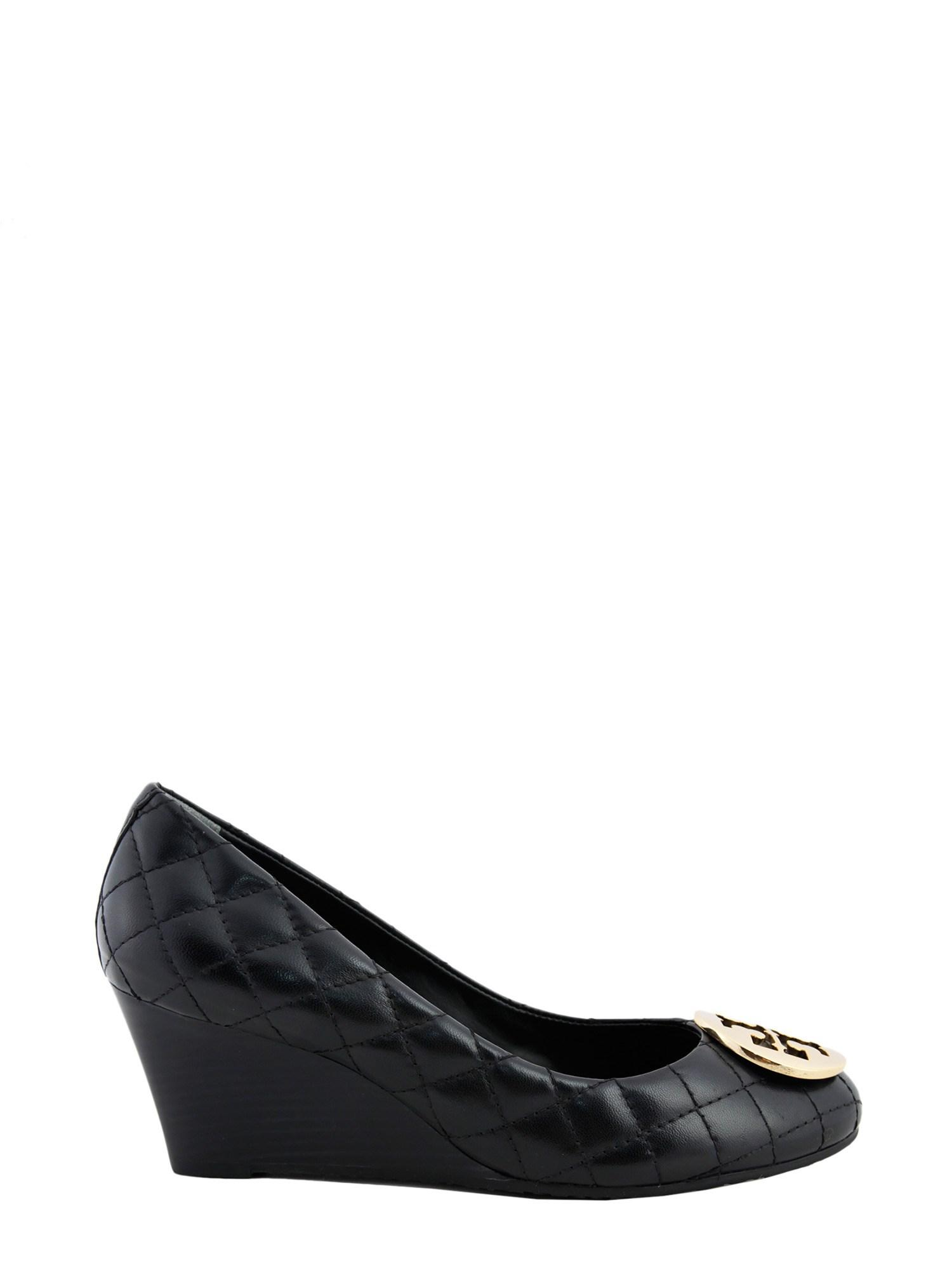 0f0a350a3d5a Lyst - Tory Burch Quinn Quilted Leather Wedges in Black