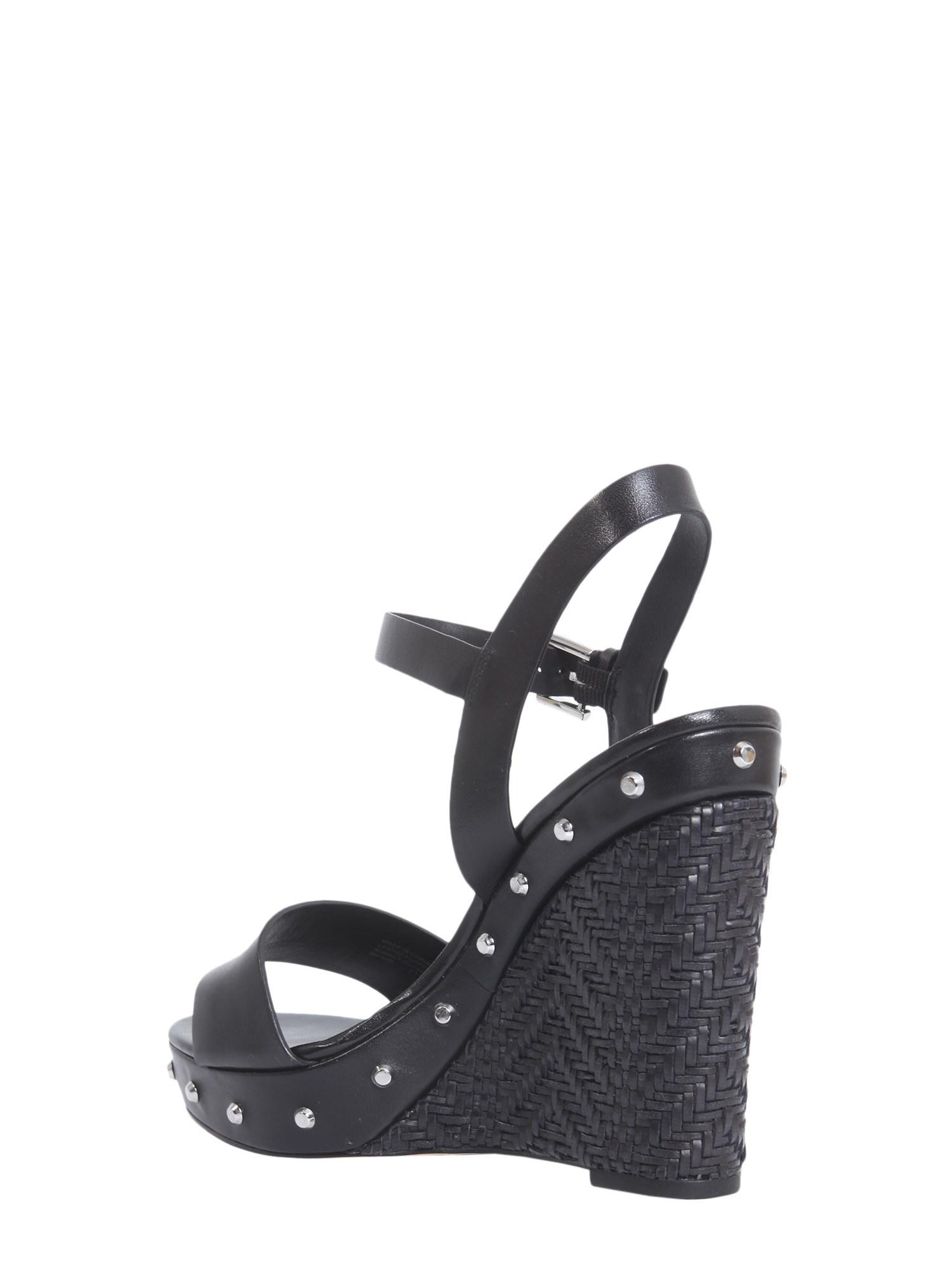 20989a20d996 MICHAEL Michael Kors - Black Ellen Studded Nappa Wedge - Lyst. View  fullscreen