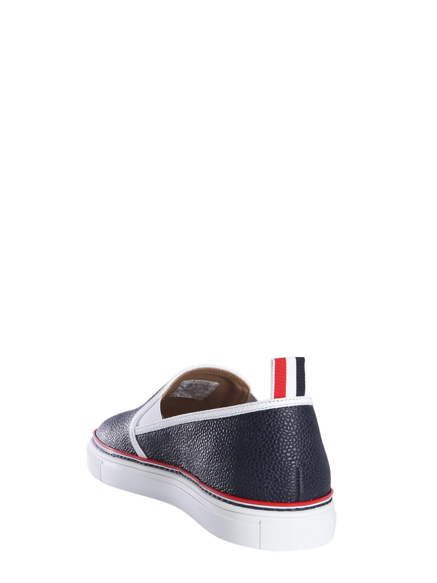 87d01dc9dc8 Lyst - Thom Browne Slip-on Leather Sneakers in Blue for Men