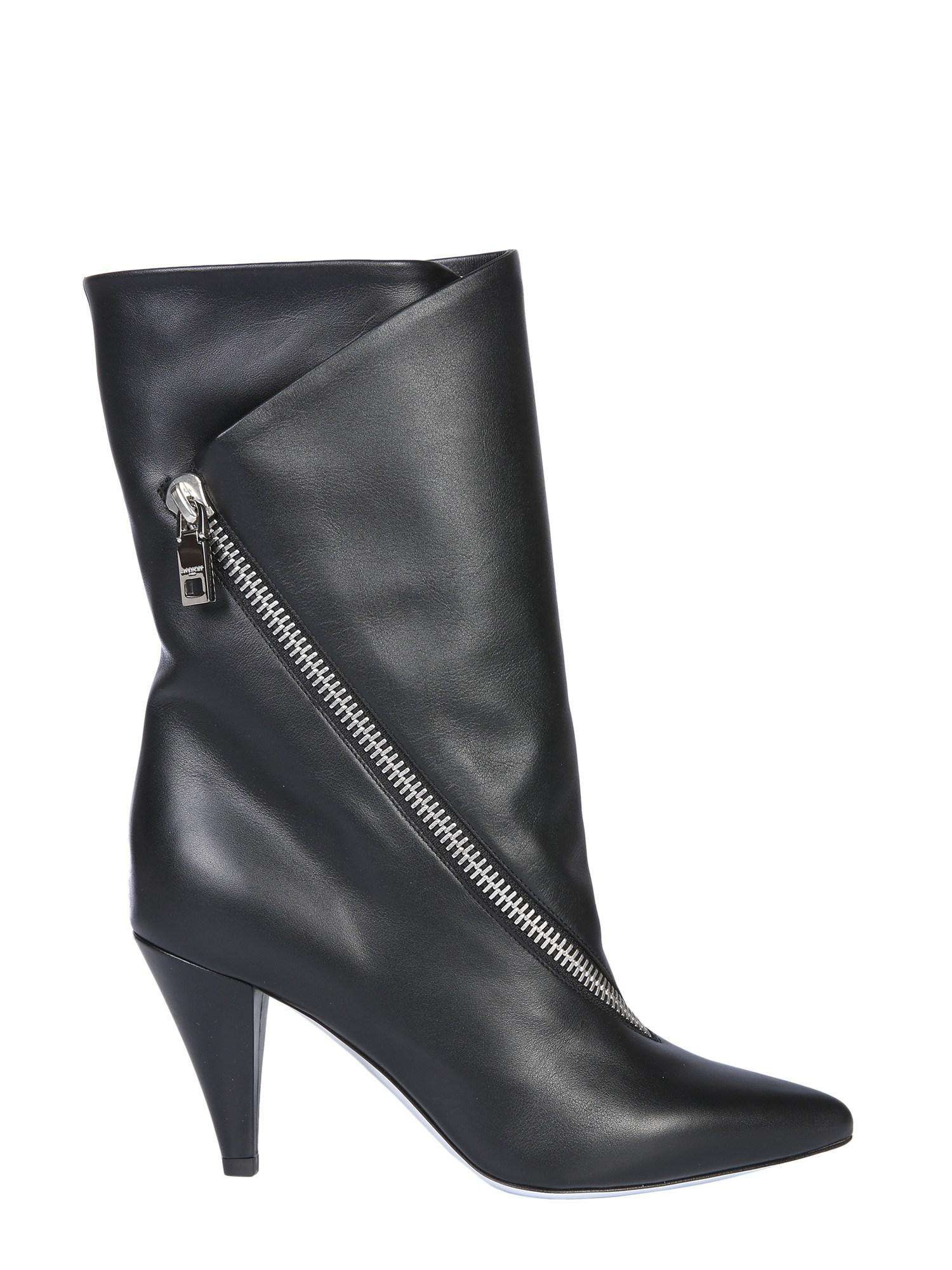 b059d1fc79c Lyst - Givenchy Medium Leather Boots With Zip in Black