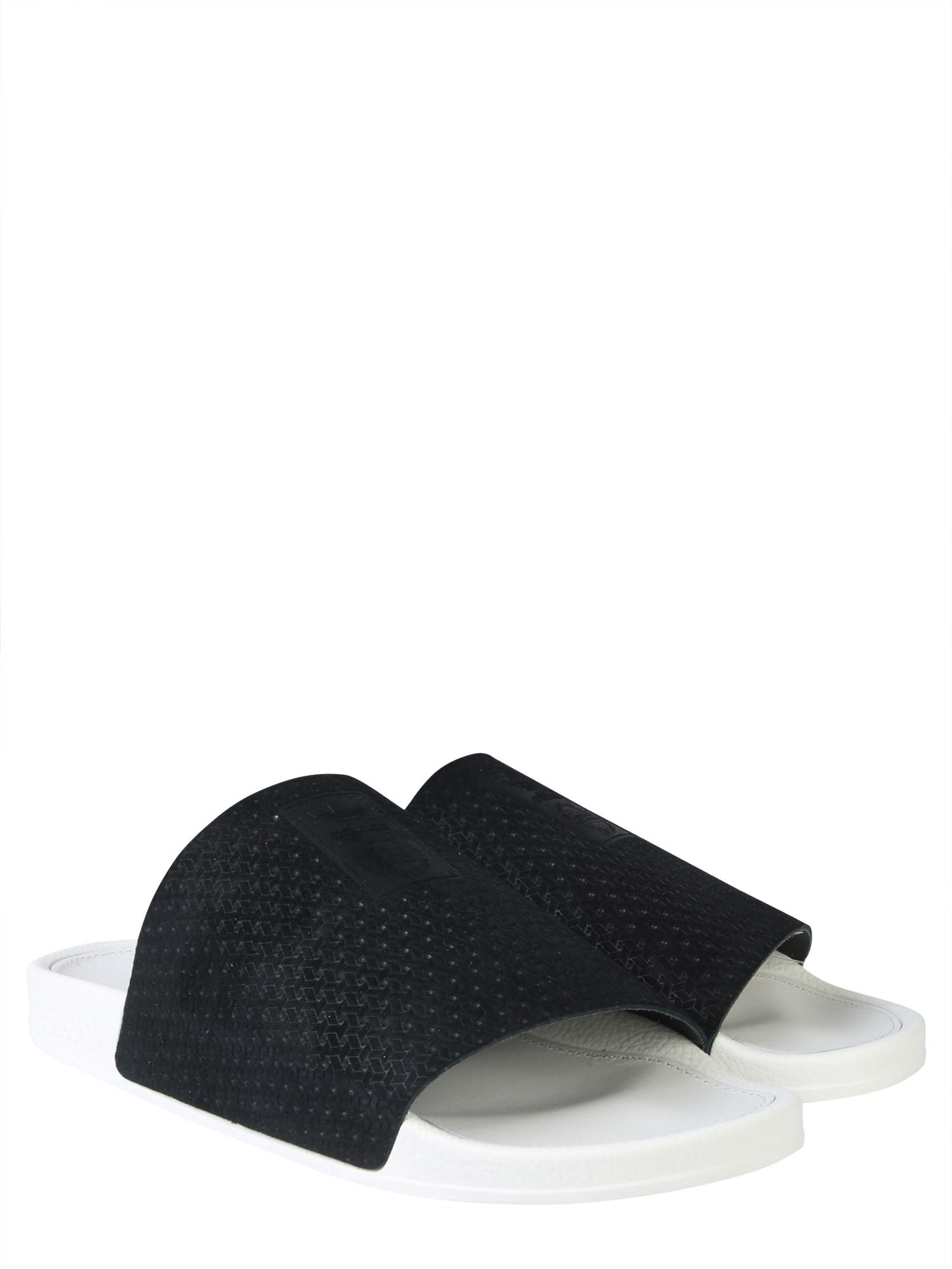 e2e1bbb9d Lyst - adidas Originals Slide Adilette Luxe W Leather Slip-ons in Black