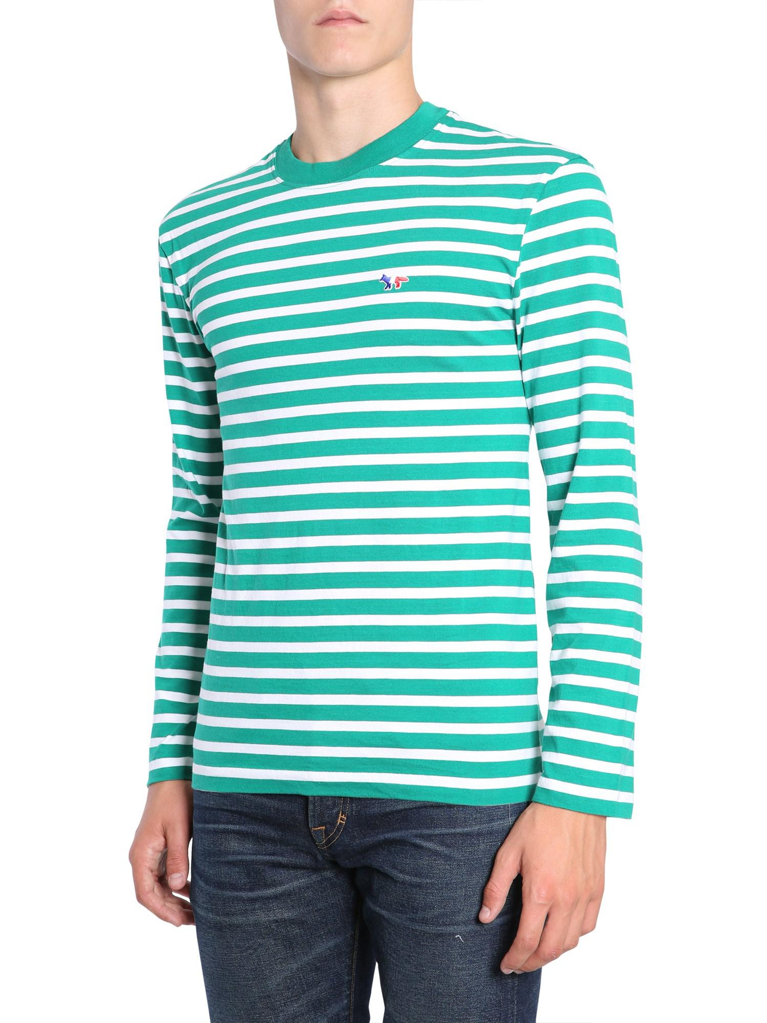 14348a7611 Maison Kitsuné Striped Long Sleeve Cotton T-shirt With Fox Patch in ...