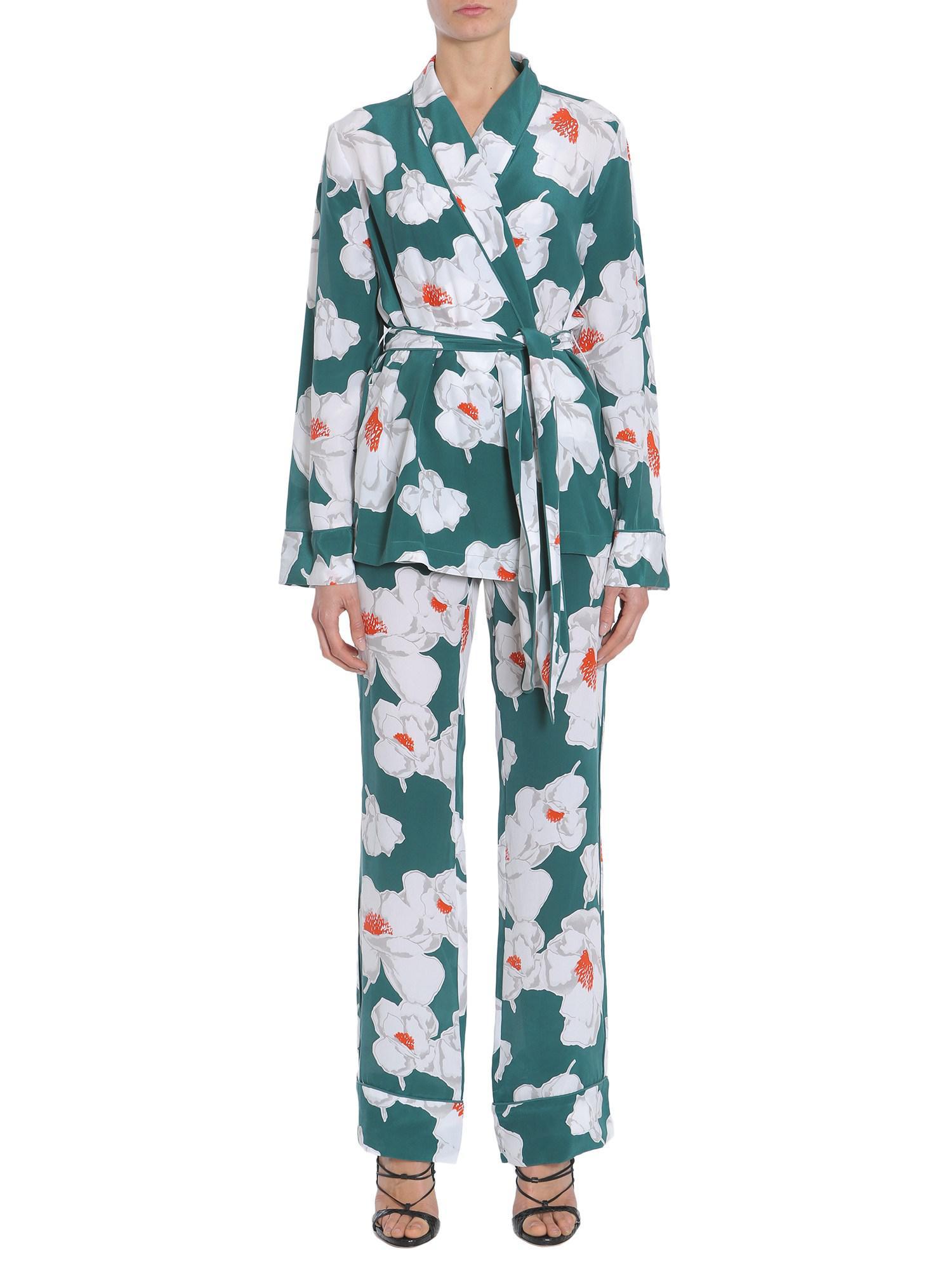 211de781ef Lyst - Equipment Floral Printed Odette Silk Pajama Set in Blue