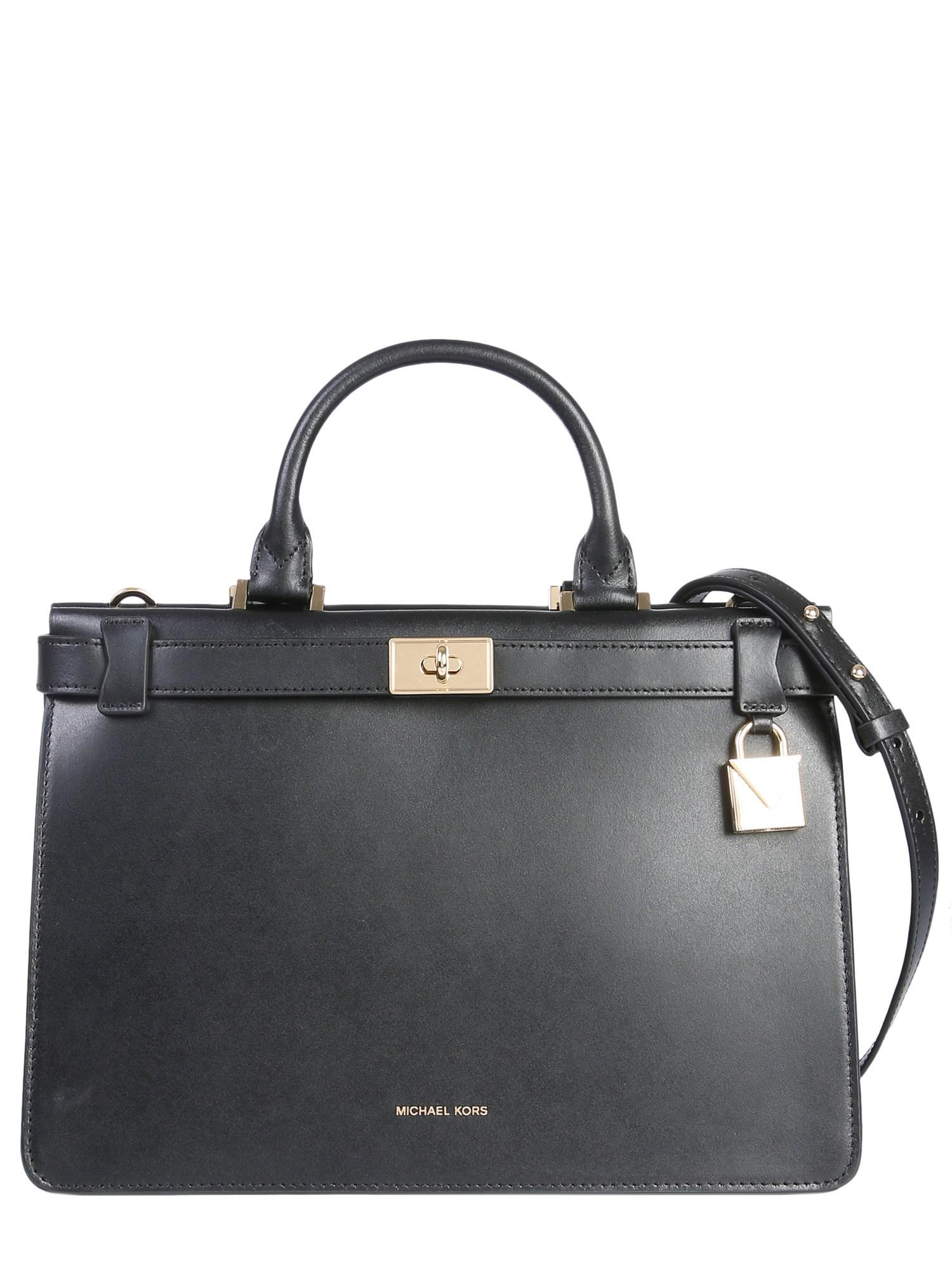 MICHAEL Michael Kors Medium Tatiana Leather Handbag in Black - Lyst 95aed880f54