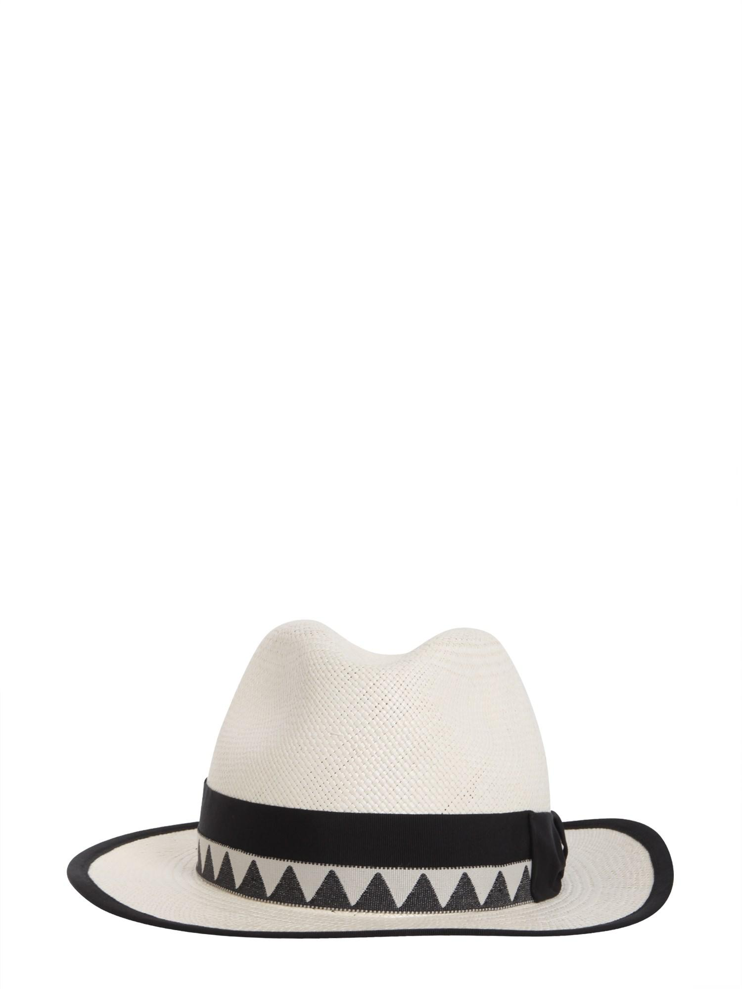 Borsalino Panama Quito Jacquard Straw Cap in White - Lyst 356c89ec2893