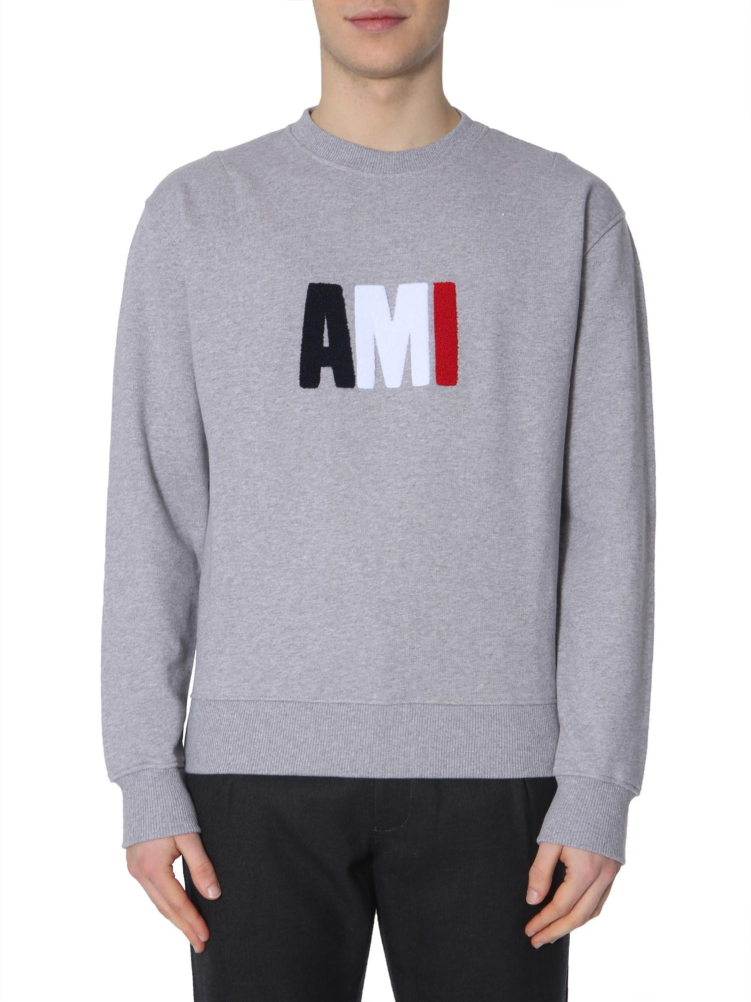 4c9def21 Lyst - AMI Cotton Sweatshirt With Embroidered Sponge Logo in Gray for Men