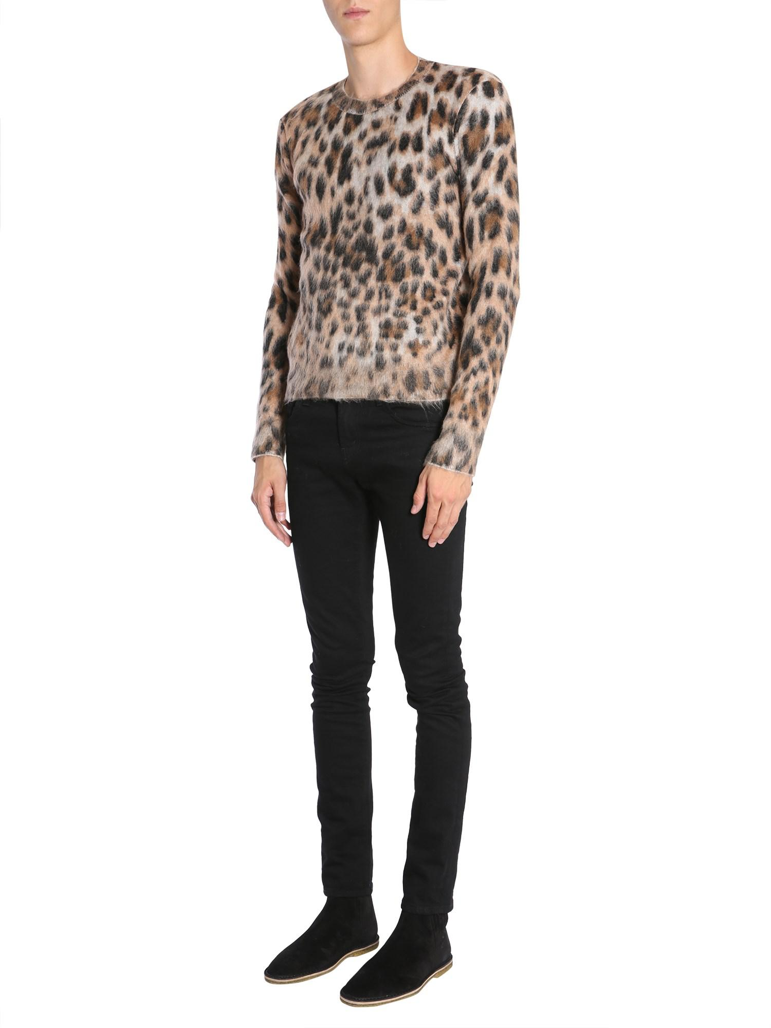645fb9515e8 Lyst - Saint Laurent Textured Leopard Print Sweater in Brown for Men ...