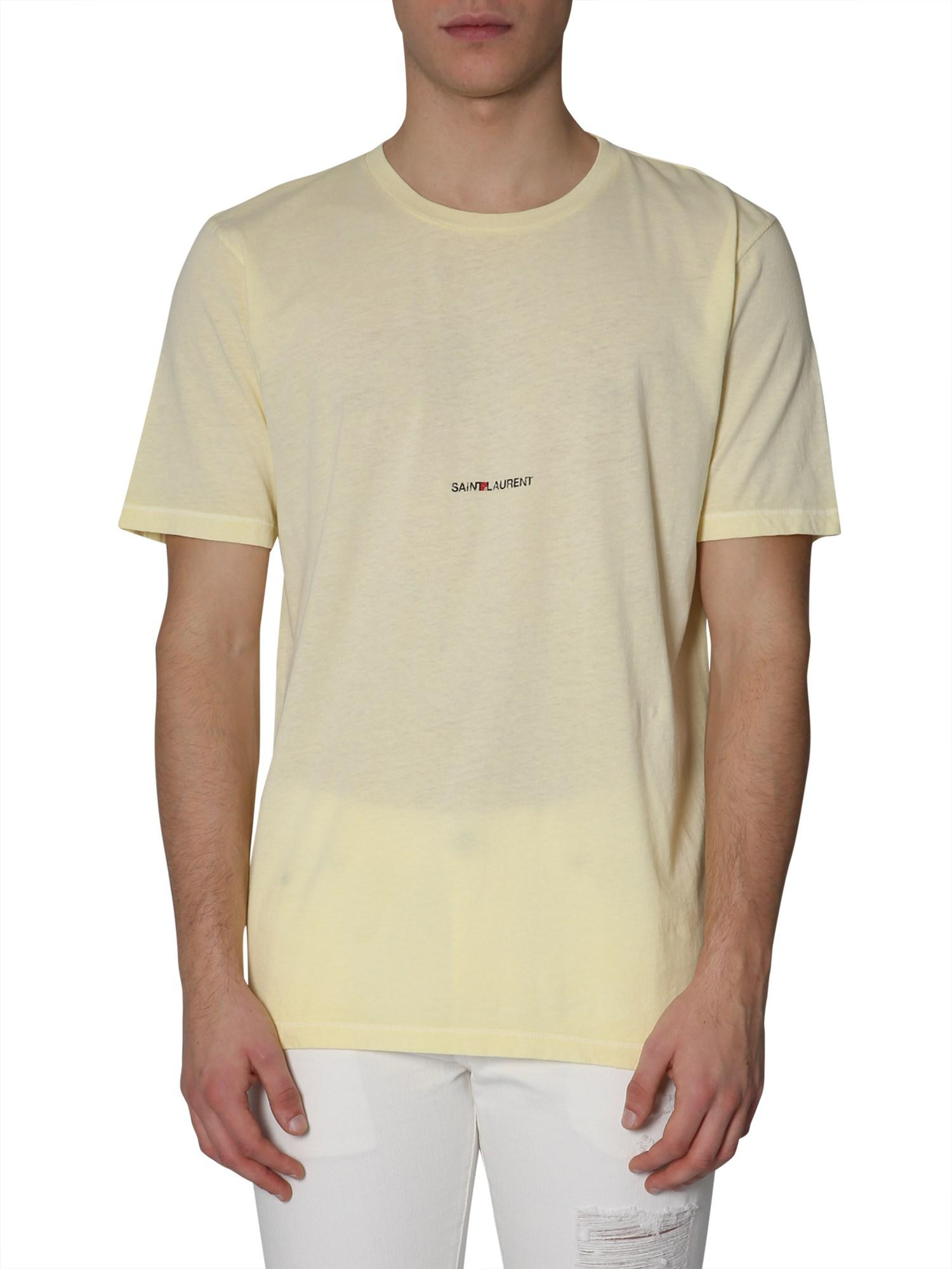 a43c47d5f8 saint-laurent-YELLOW-T-shirt-Girocollo-In-Cotone-Con-Stampa-Logo.jpeg