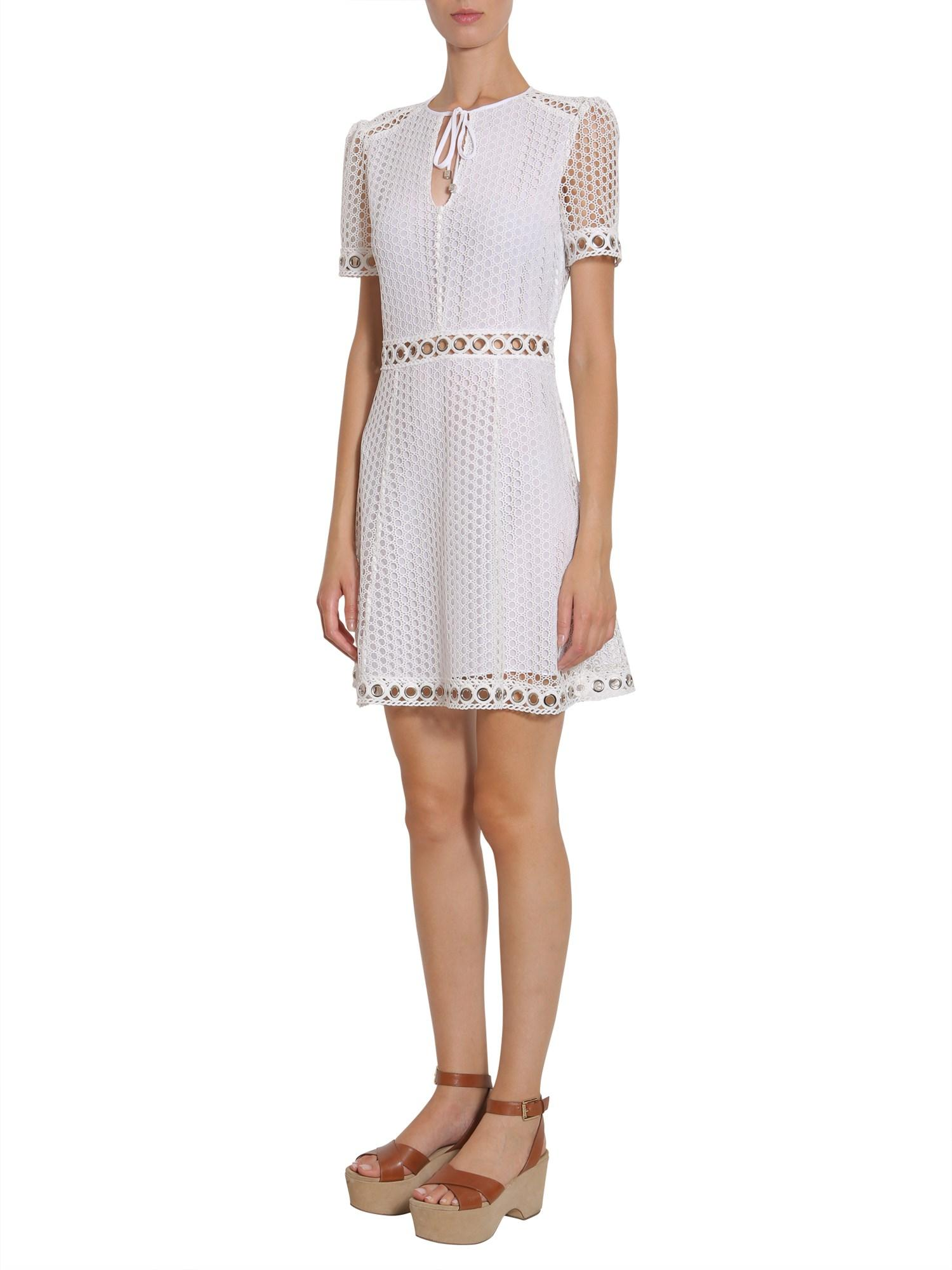 ea86b7db4d1 MICHAEL Michael Kors Lace Dress With Studded Trim in White - Save 34% - Lyst
