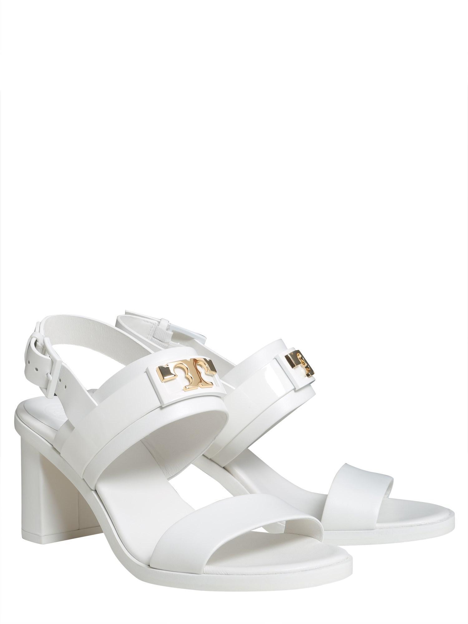 ca4a7990c63cb8 Lyst - Tory Burch Gigi Slingback Leather Sandals in White