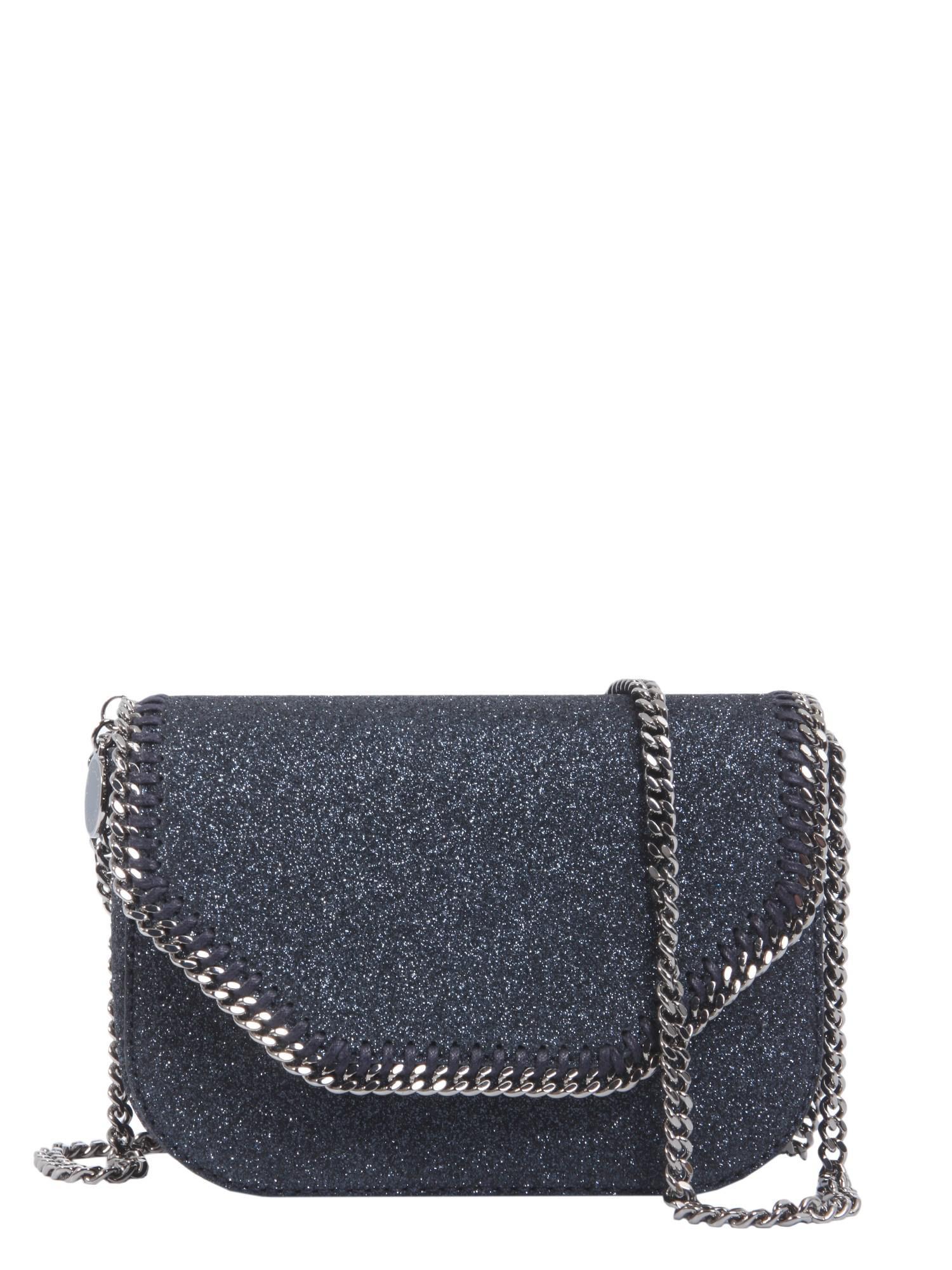 Satin Mini Stella Logo Shoulder Tote Bag in Black Eco Fabric Stella McCartney FitC4lza