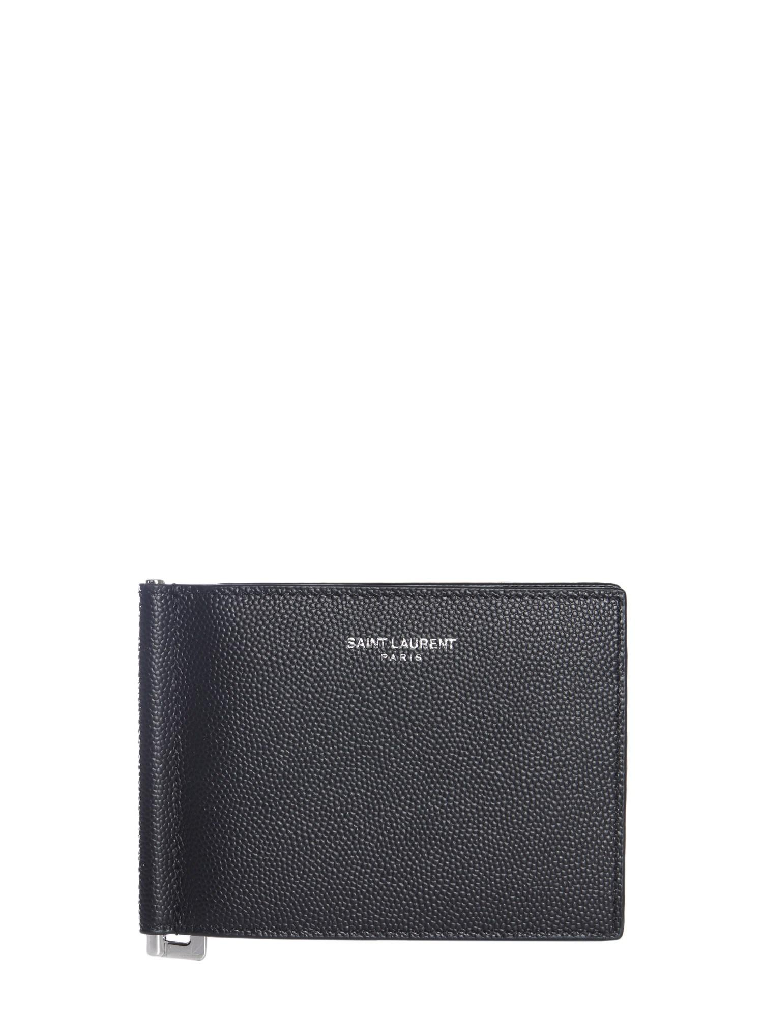 2f088a9d6b3 Saint Laurent Granulated Leather Card Holder in Black for Men - Save ...