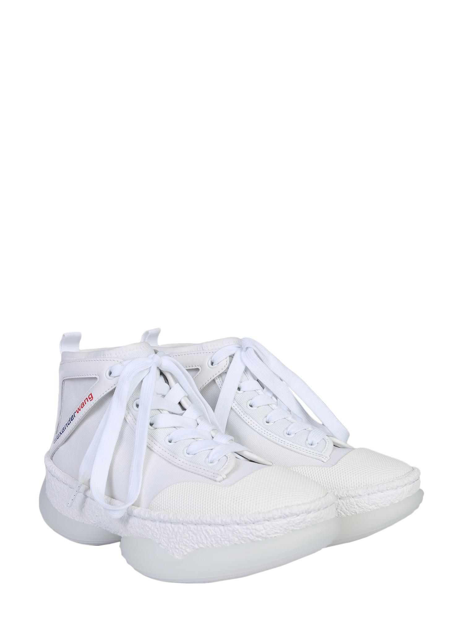 huge selection of b8a6d a06d1 Alexander Wang Sneaker Alta A1 In Mesh E Pelle in White for