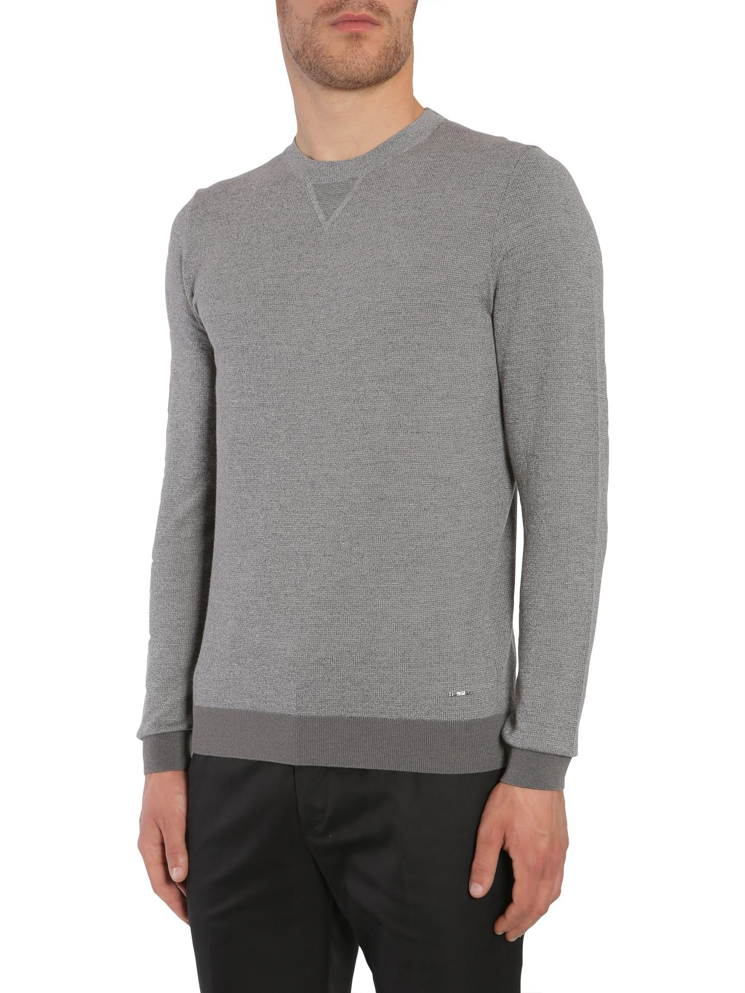 2752630f7 BOSS Grey Wool Sweater in Gray for Men - Save 51% - Lyst