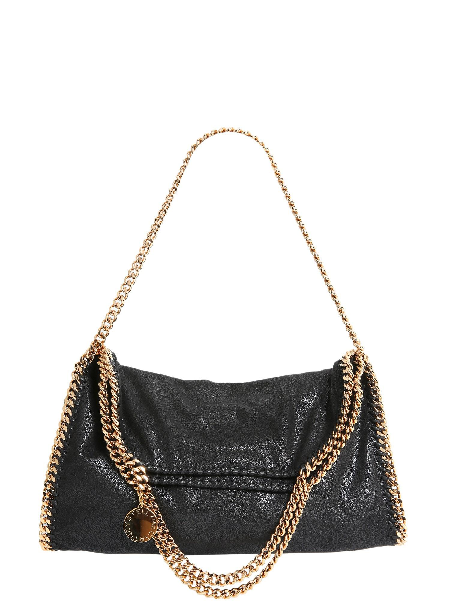 e52ac763968 Stella Mccartney Falabella SHAGGY Deer Fold Over Tote in Black - Lyst