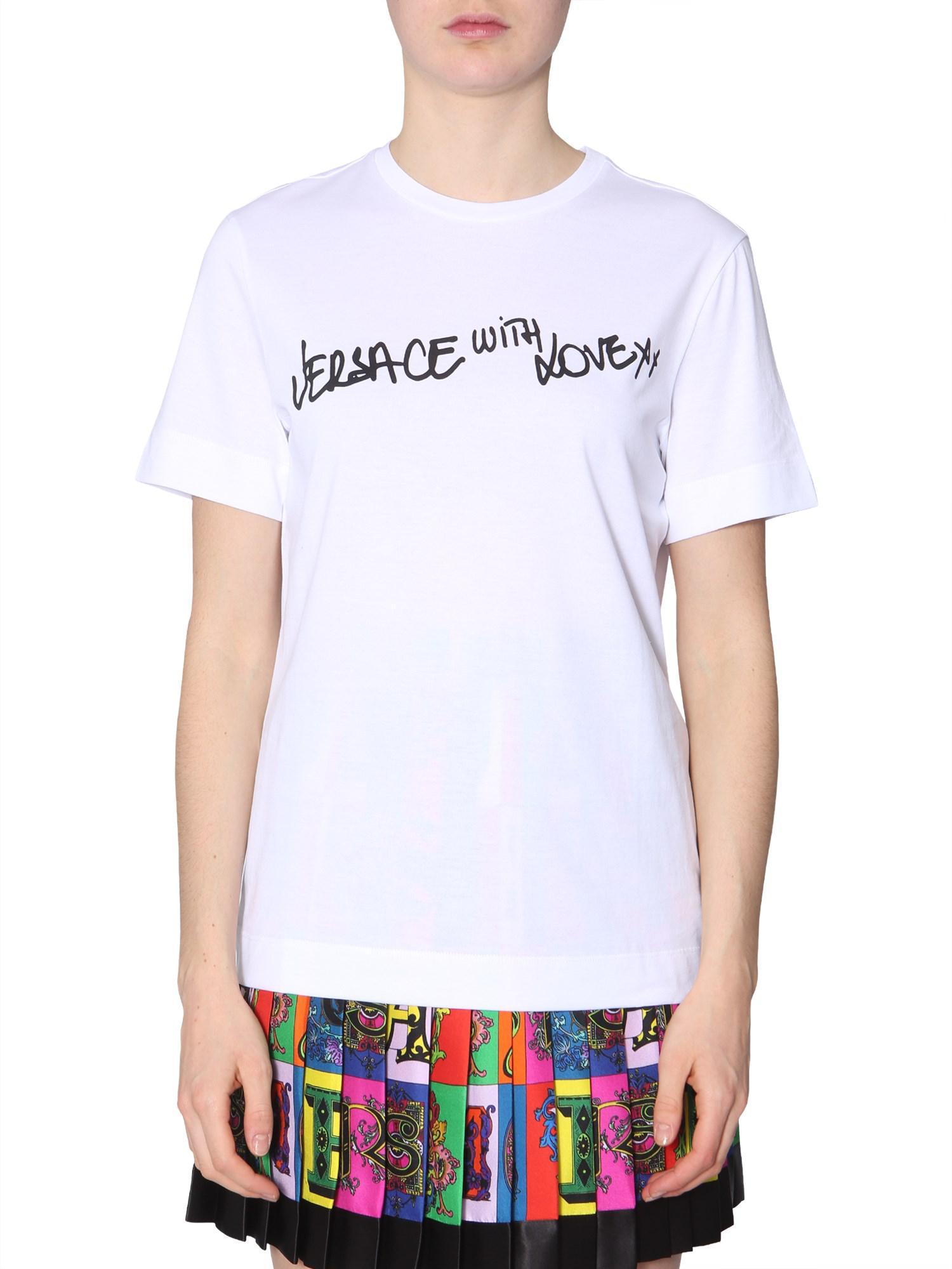 Lyst - Versace T-shirt Girocollo In Jersey Di Cotone Con Stampa in White 3dc3bc42042f