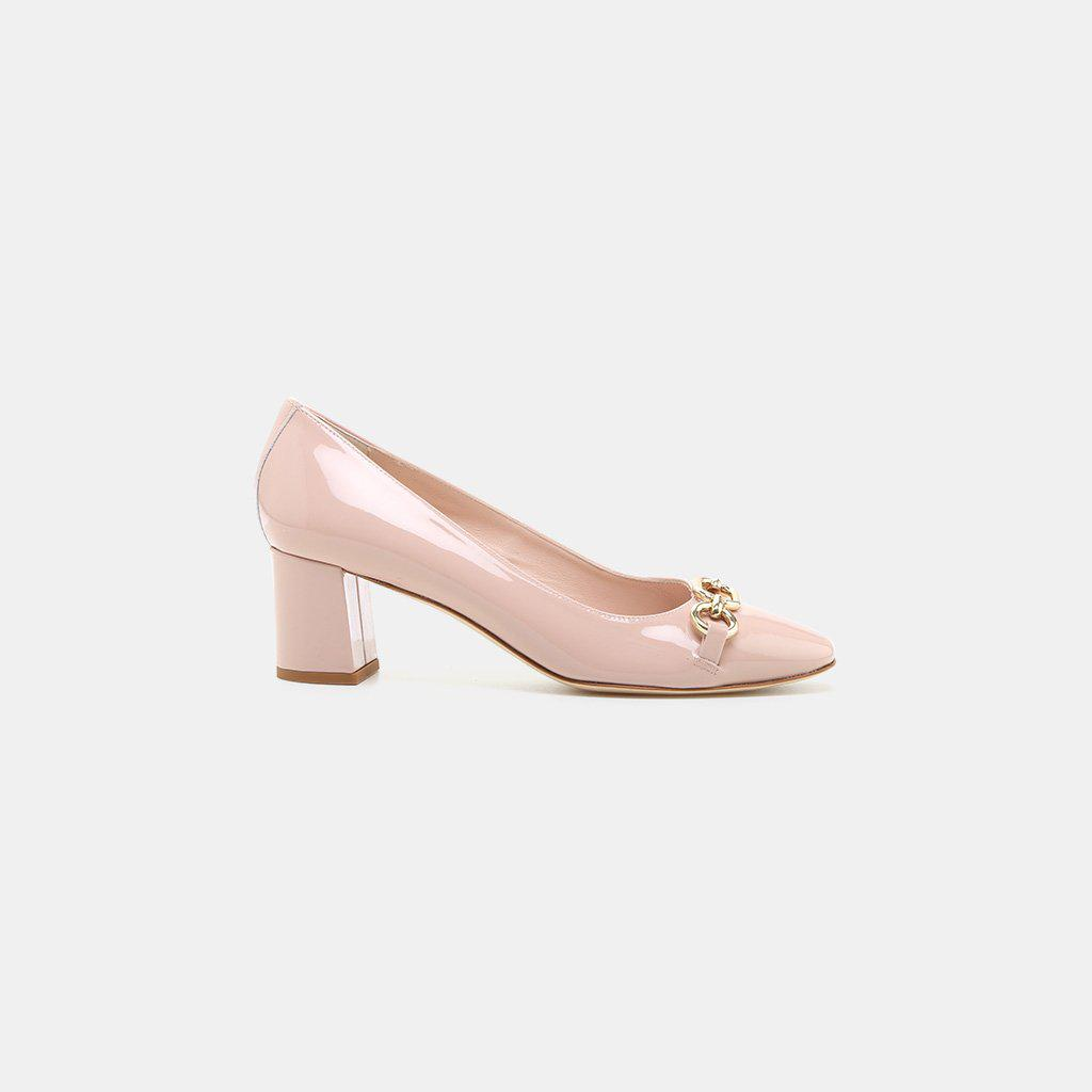 cbe692c3a88f Lyst - Kate Spade Dillian Patent Leather Chainlink Pump in Pink ...