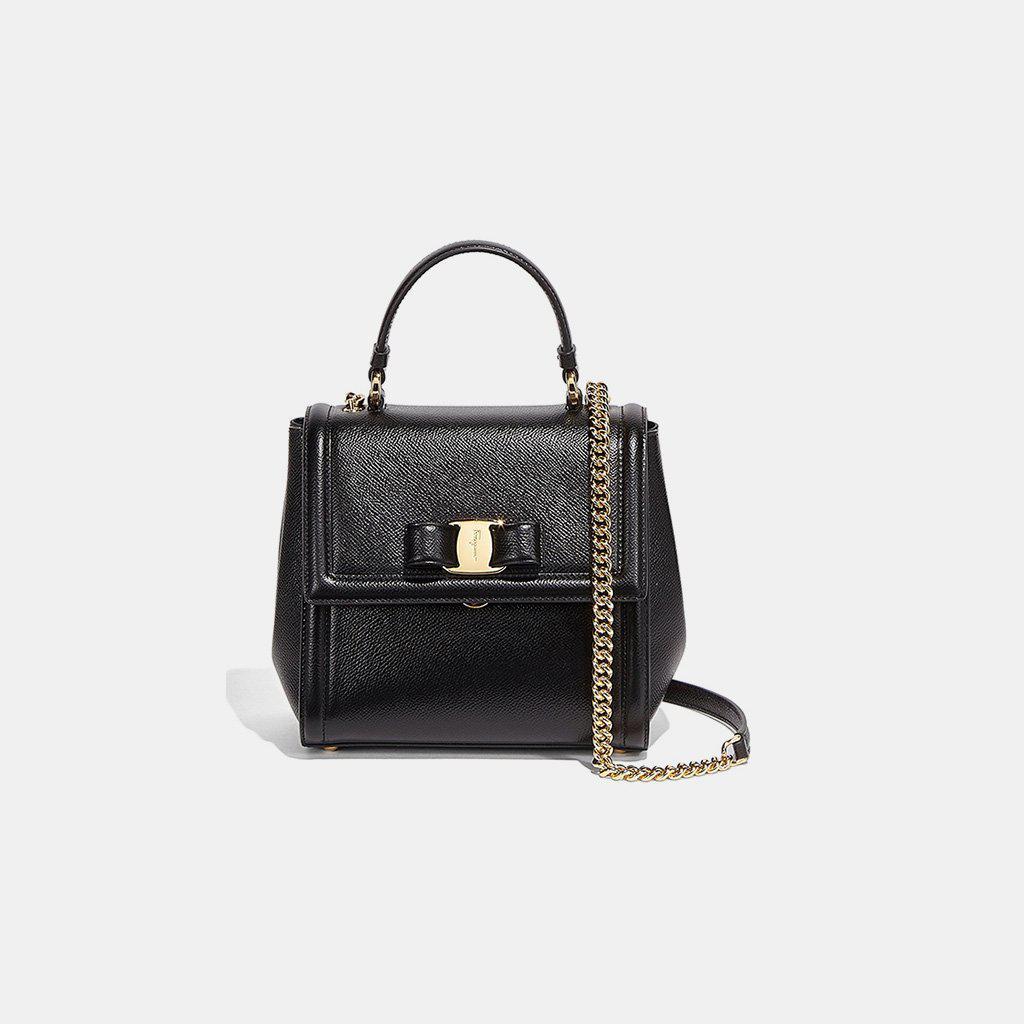 2352d1f3e31 Lyst - Ferragamo Small Carrie Vara Bow Calfskin Shoulder Bag in Black