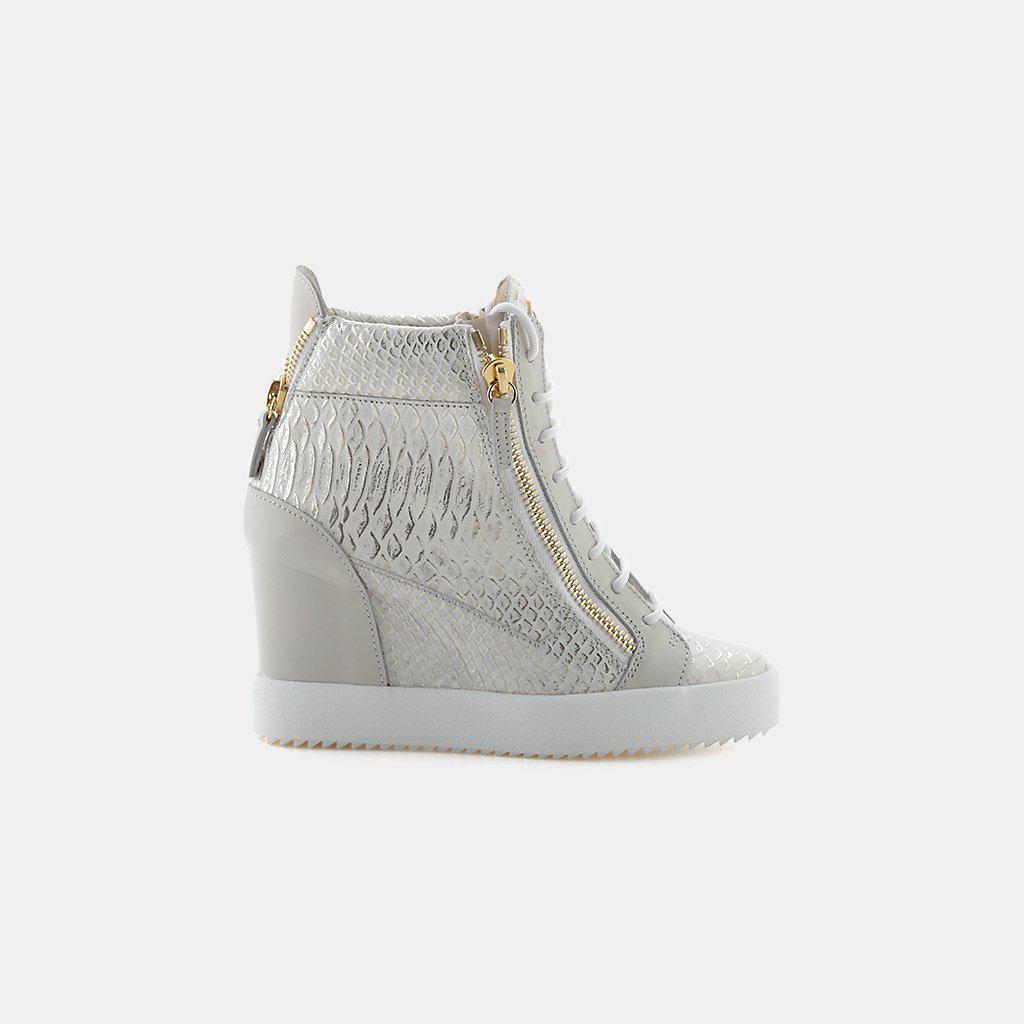 f6ba9134f7d52 Giuseppe Zanotti Ofelia Embossed Leather Double Zip Wedge Sneaker in ...