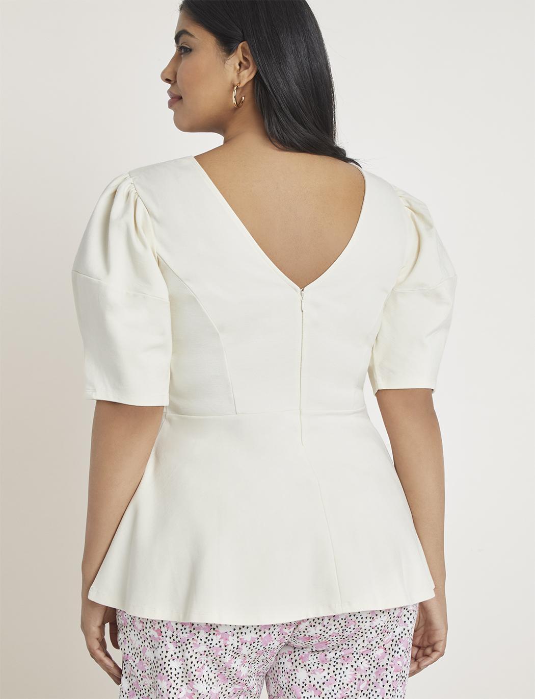 1faee951ee8176 Lyst - Eloquii Puff Sleeve Peplum Top in White