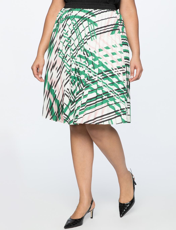 46102c451dedb Lyst - Eloquii Printed Midi Skirt With Pleats