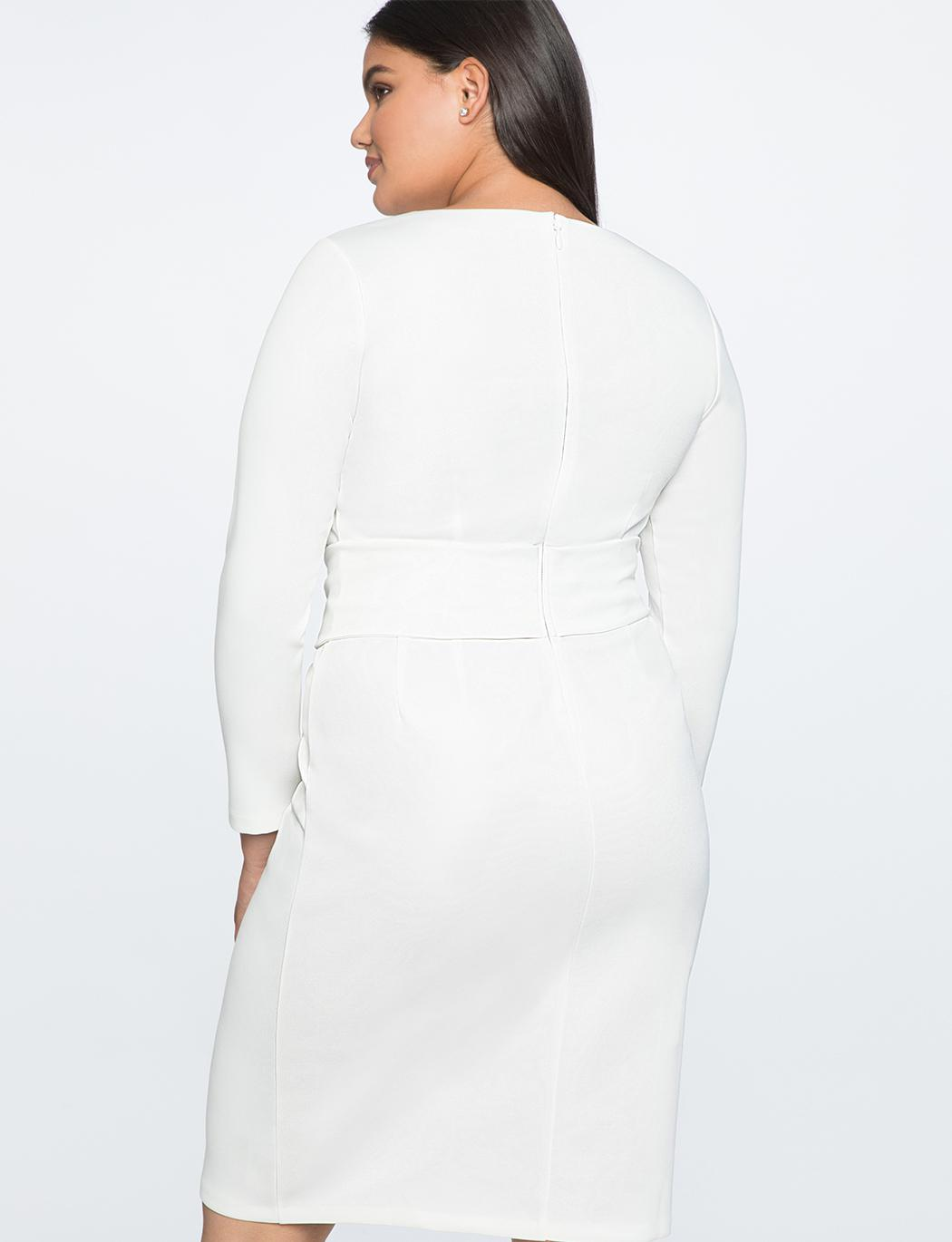 ddc1f88a644 Lyst - Eloquii Long Sleeve Scuba Dress With Tie in White