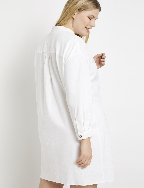 8cd2a57093cc8f Lyst - Eloquii Mock Neck Tortoise Button Detail Dress in White