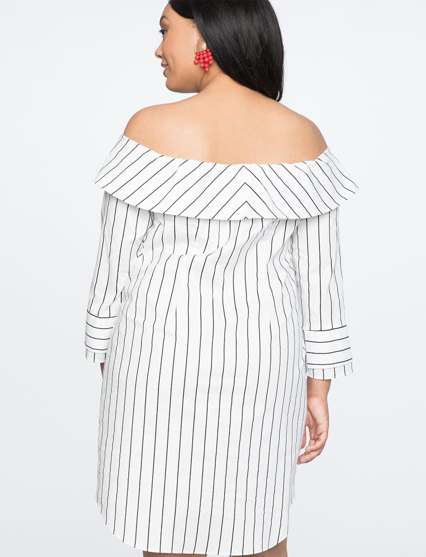 ce5d0b21de8ce0 Lyst - Eloquii Off The Shoulder Shirt Dress in White