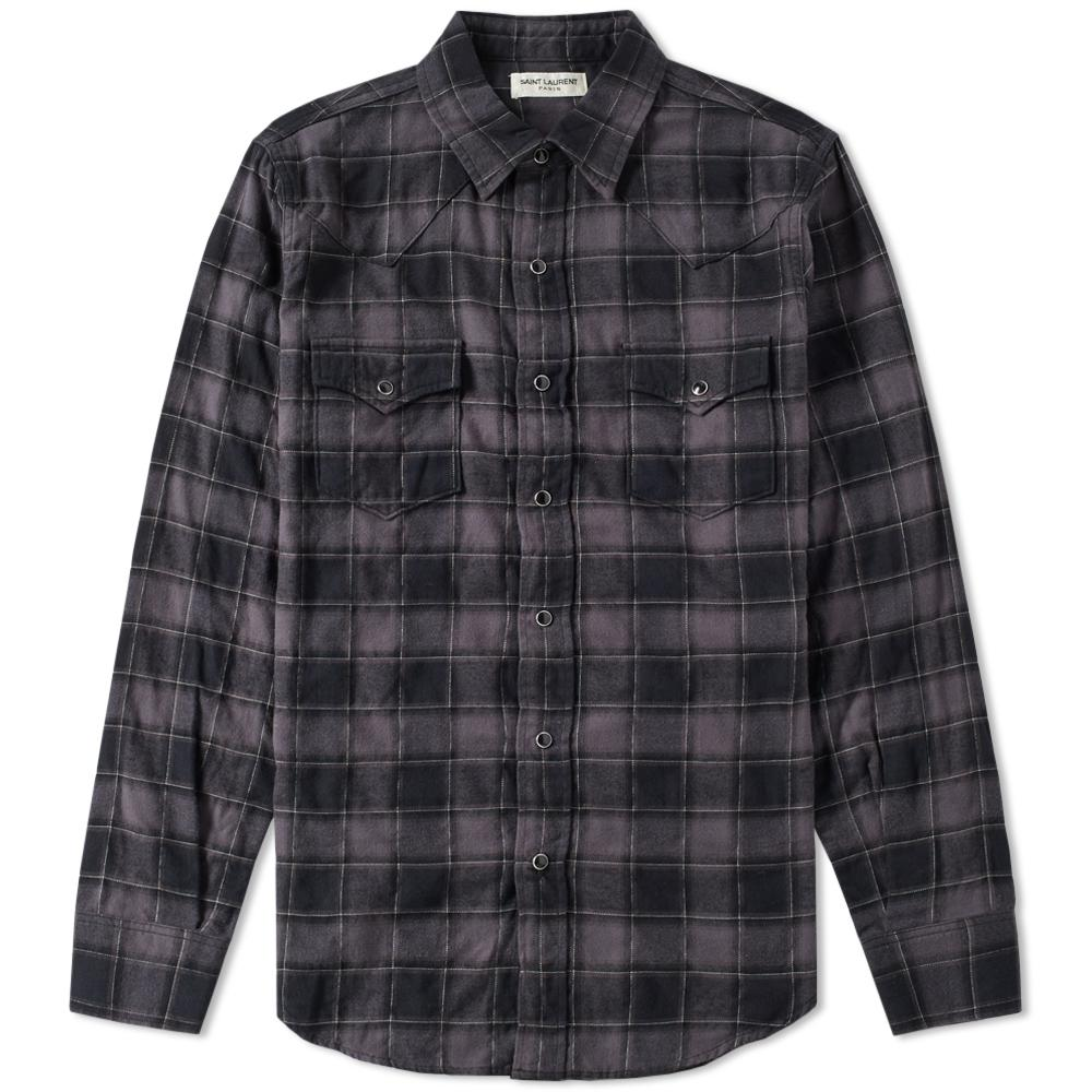 Lyst saint laurent western check shirt in gray for men for Saint laurent check shirt