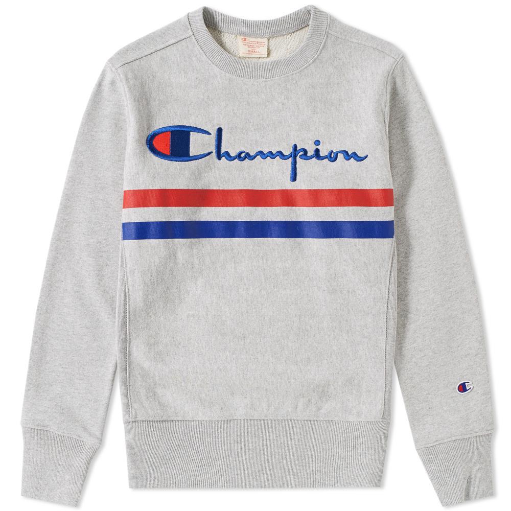 36aa985ceb72 Lyst - Champion Logo Stripe Crew Sweat in Gray for Men