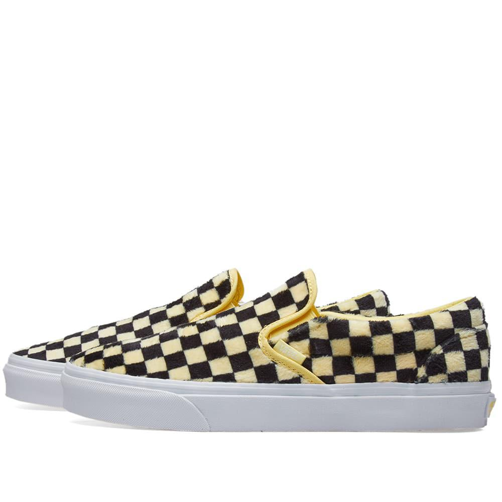 1dcefb75d89f3c Vans Women s Ua Classic Slip On Furry Checkerboard in Yellow - Lyst