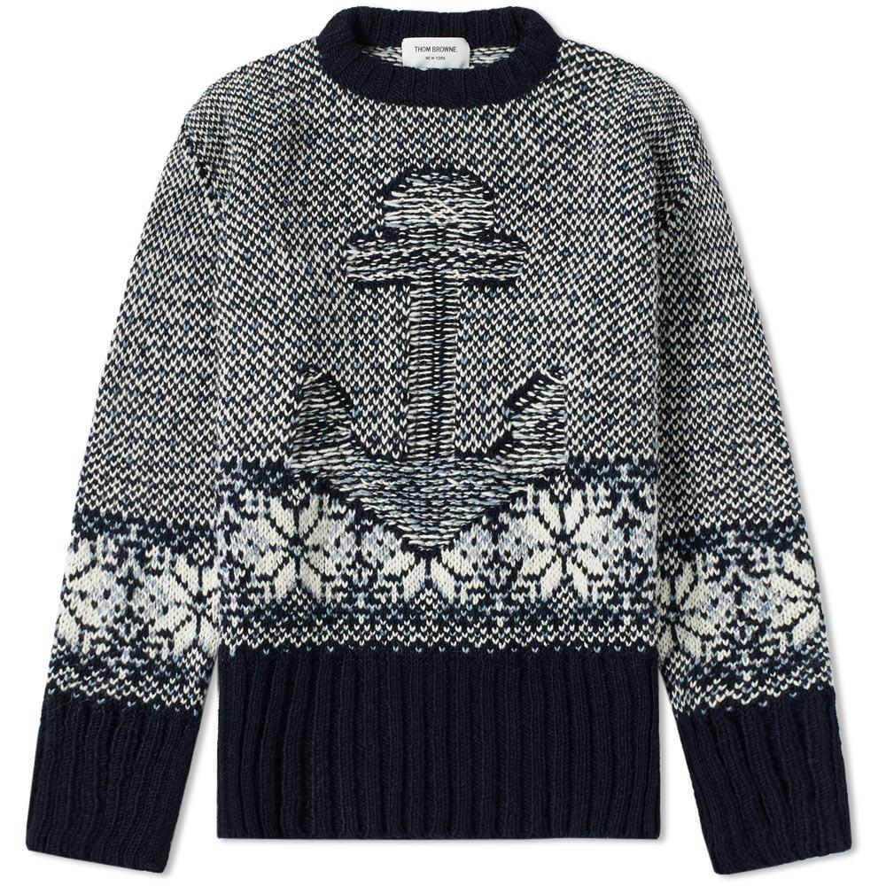 Lyst - Thom Browne Anchor Fair Isle Jacquard Crew Knit in Blue for Men b3433d4e0