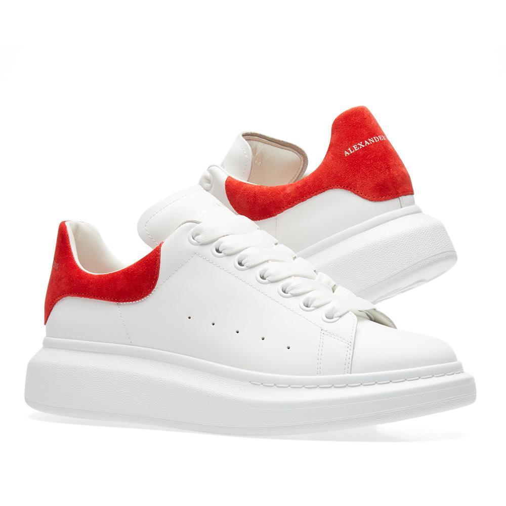 1287a3d4253a Lyst - Alexander McQueen Wedge Sole Suede Heel Tab Sneaker in Red ...