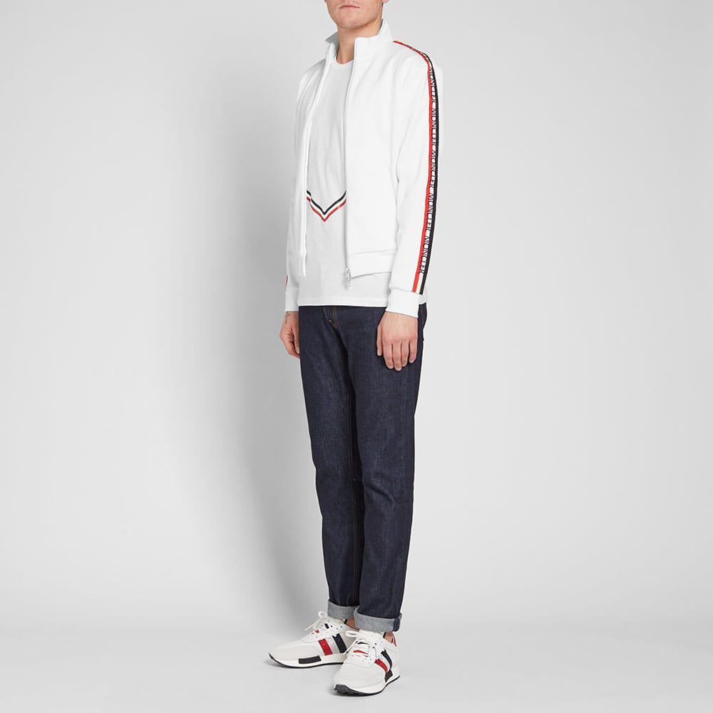 0b98e4388 Moncler Taped Sleeve Zip Track Top in White for Men - Lyst