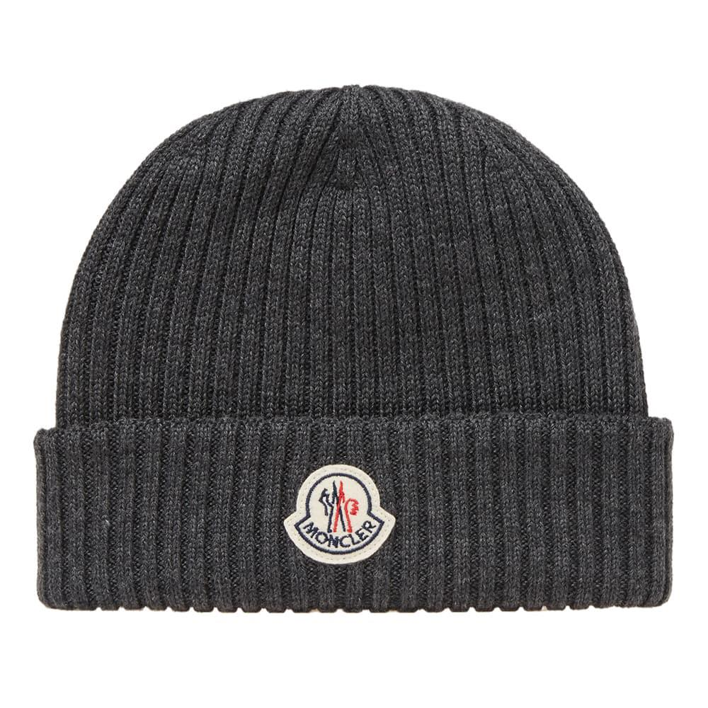31c8d3484 Moncler Berretto Basic Ribbed Beanie in Gray for Men - Save ...