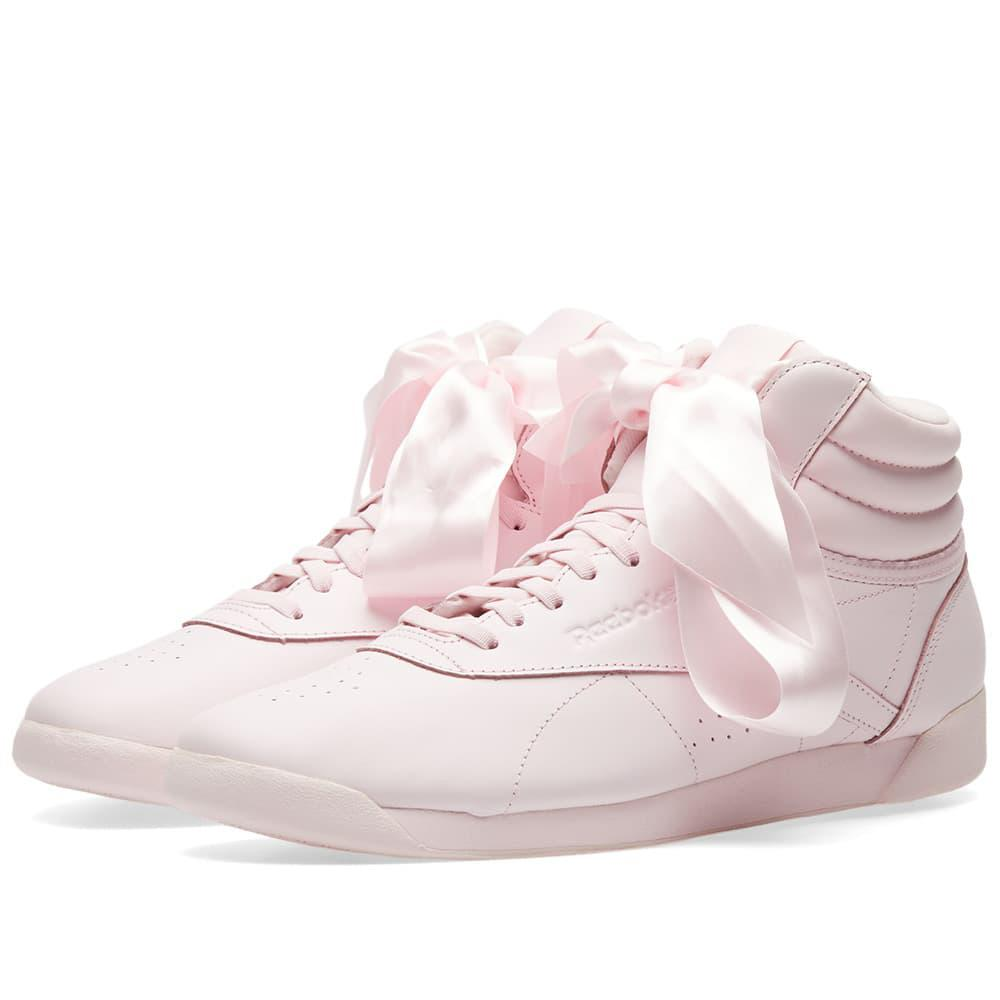 e8d9a1bef474 Reebok Freestyle Hi Satin Bow W in Pink - Lyst