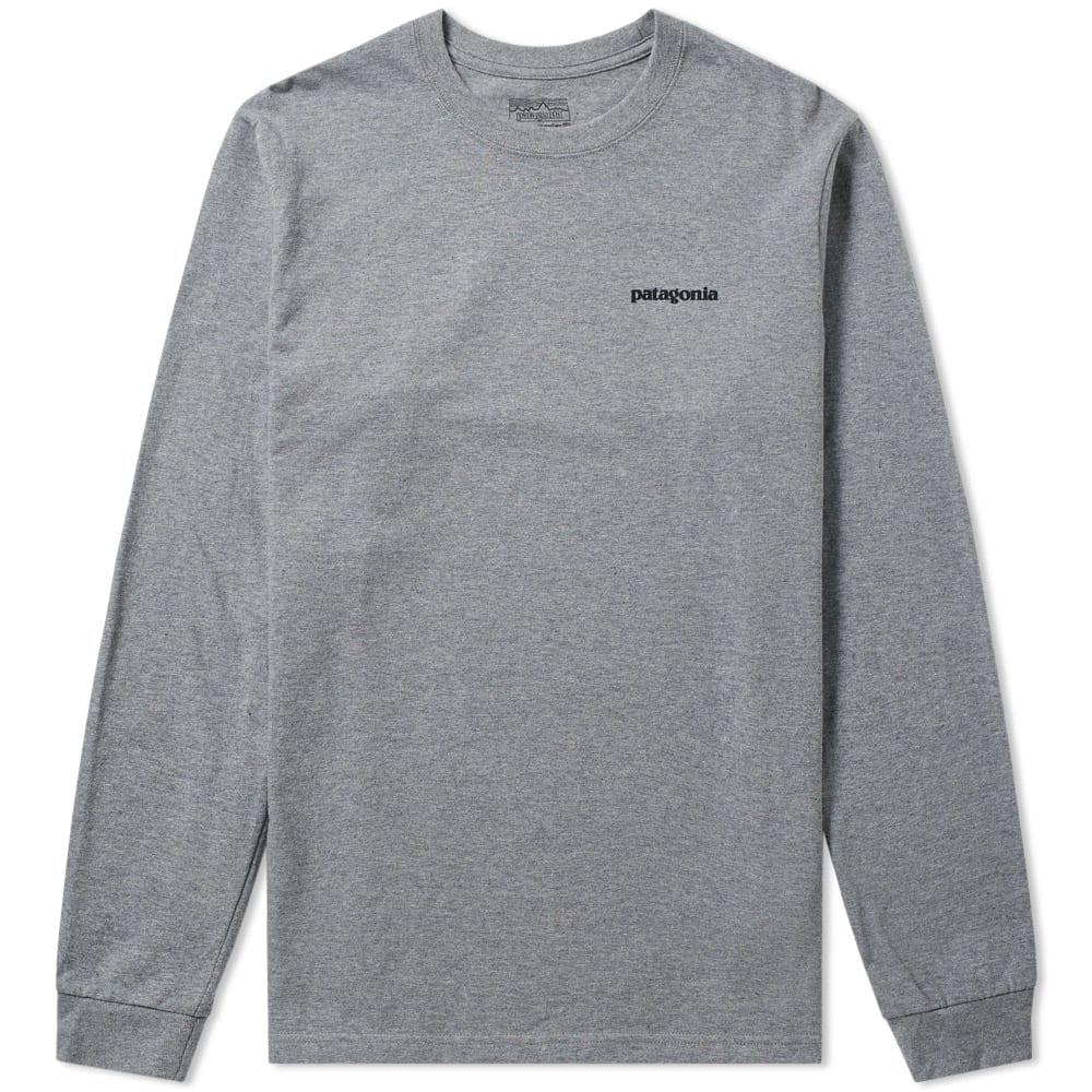 c8126647f4d74 Patagonia - Gray Long Sleeve P6 Logo Tee for Men - Lyst. View fullscreen