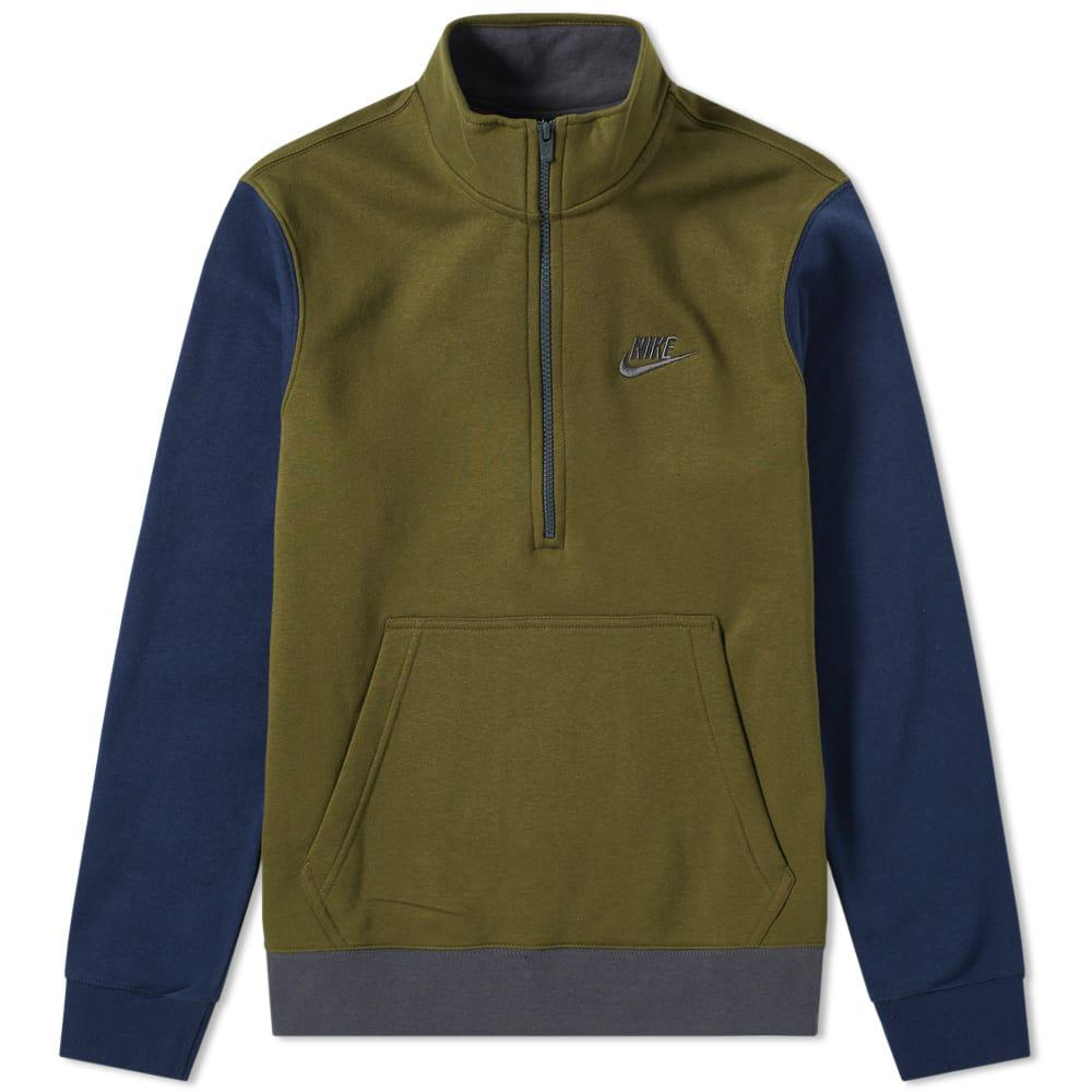 e2a685072 Nike Club Half Zip Sweat in Green for Men - Lyst
